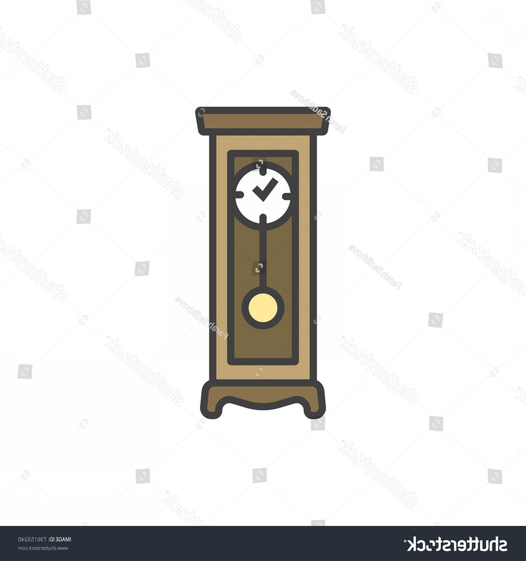 Old Floor Clock Vector: Floor Clock Flat Line Colored Icon