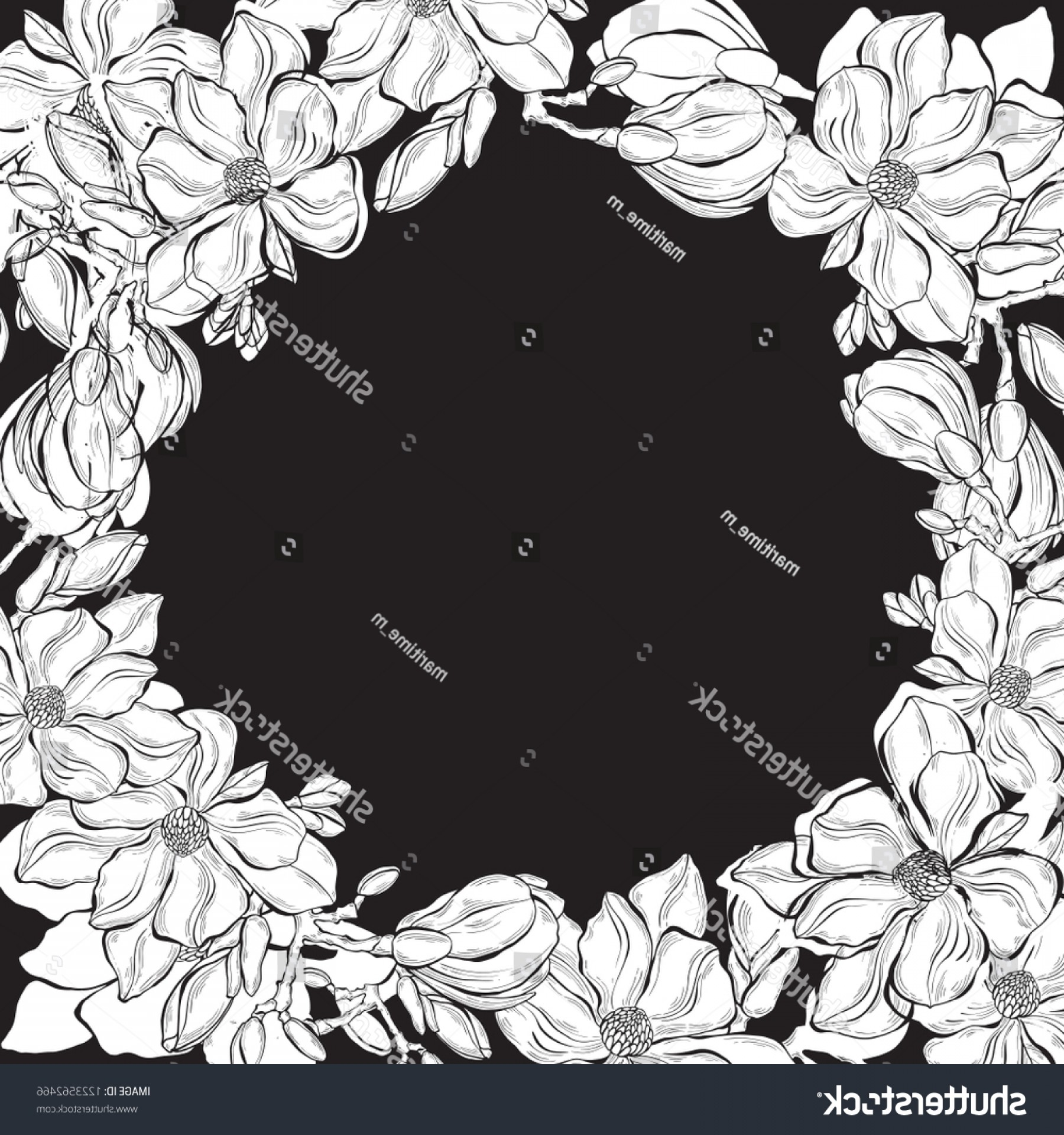 Magnolia Black And White Vector: Floral Background Magnolia Place Text Black