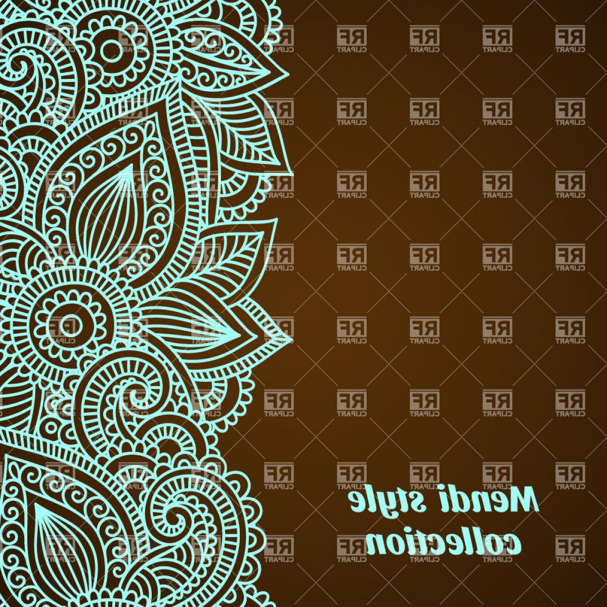 India Clip Art Vector Designs: Floral Background With Ethnic Indian Tracery Mendi Style Border Vector Clipart