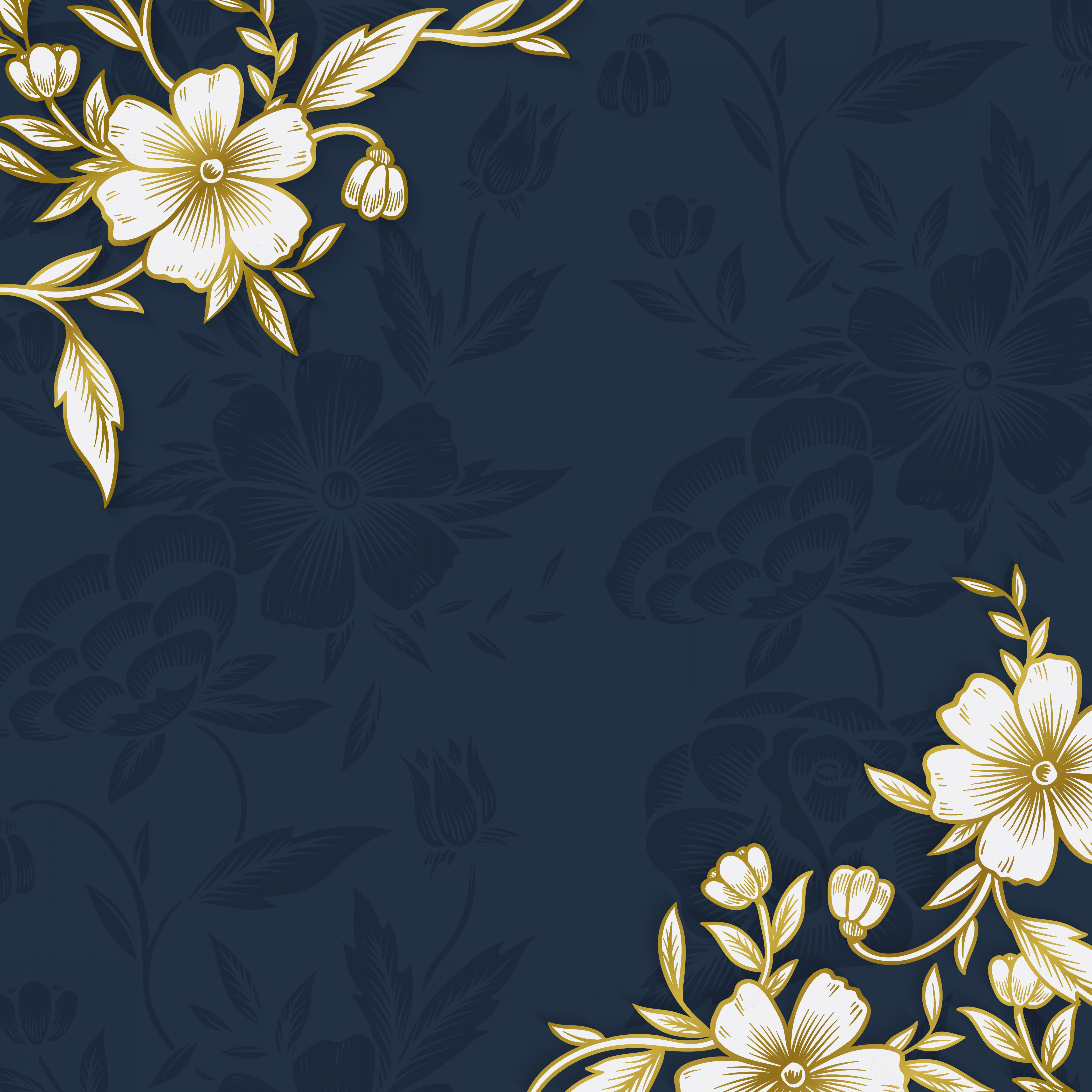 Gold And Blue Flower Vector: Floral Border With Copy Space