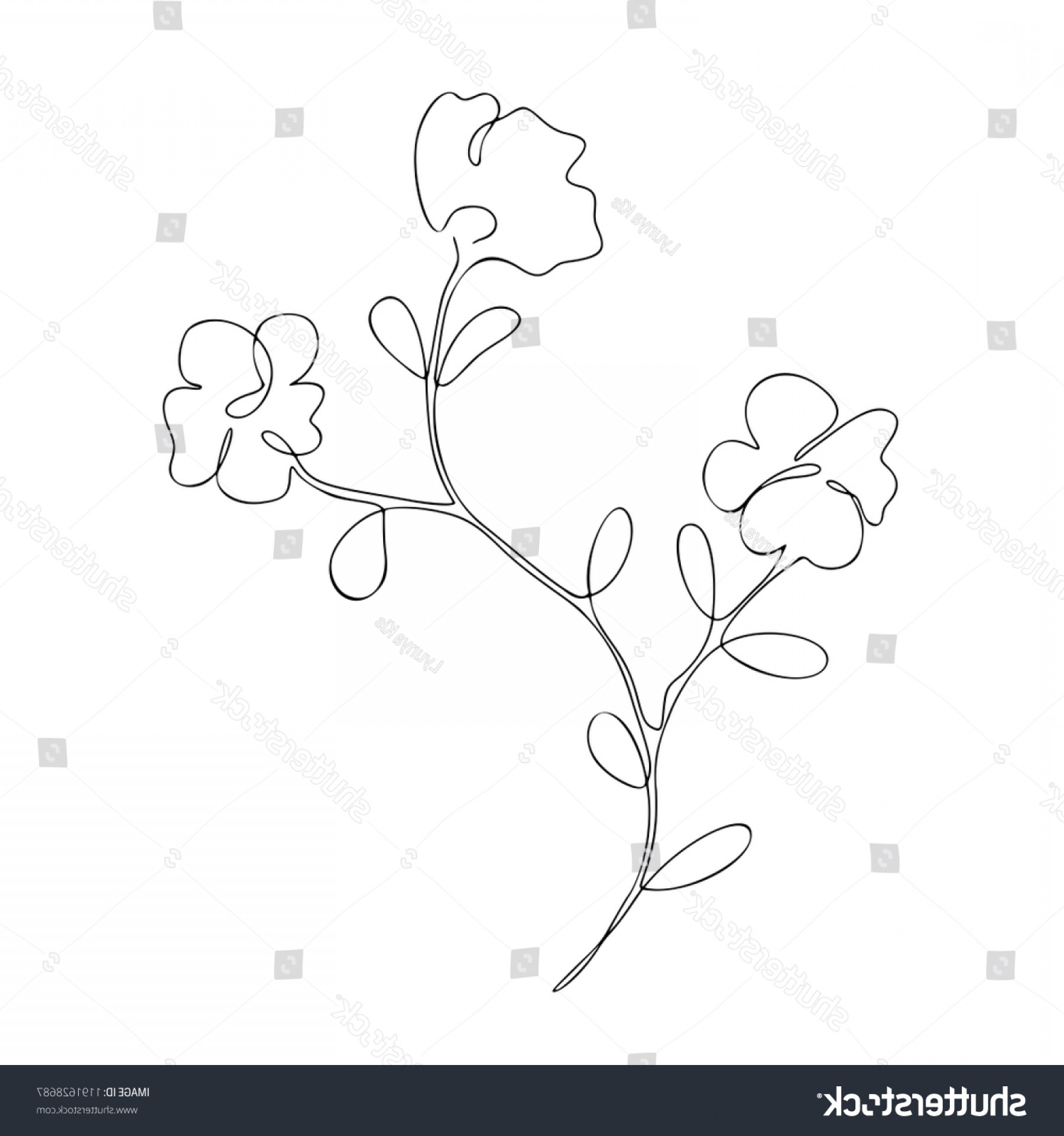 Continuous Tree Branch Vector Image: Floral Branch Three Flowers Decorative Summer