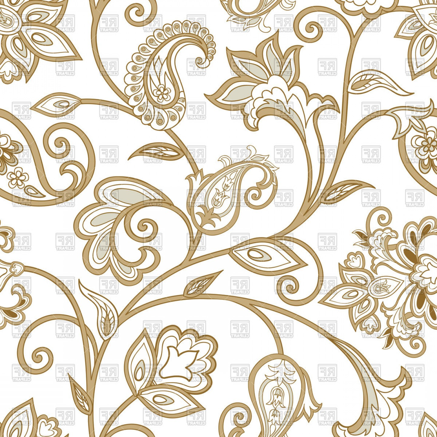 Vector Flourish Backgrounds: Floral Ethnic Pattern With Curly Flourish Plants Vector Clipart