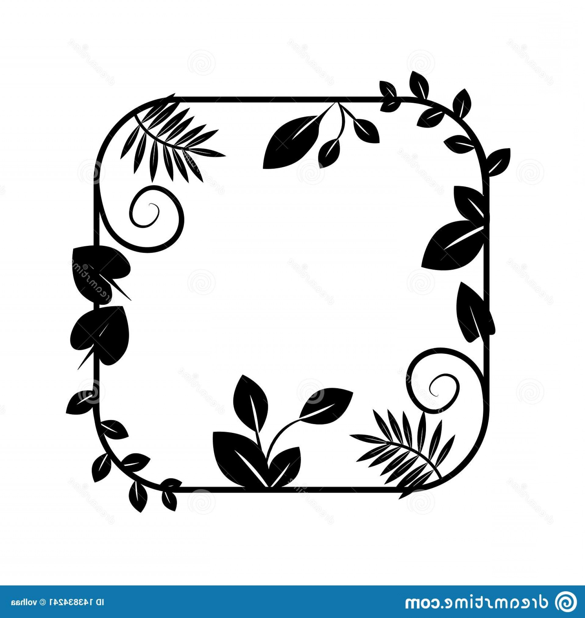 Floral Vector Icon: Floral Frame Vector Icon Border Plant Wreath Herbal Flowers Flora Plants Green Growth Leaf Leaves Foliage Herbarium Eco Ecology Image