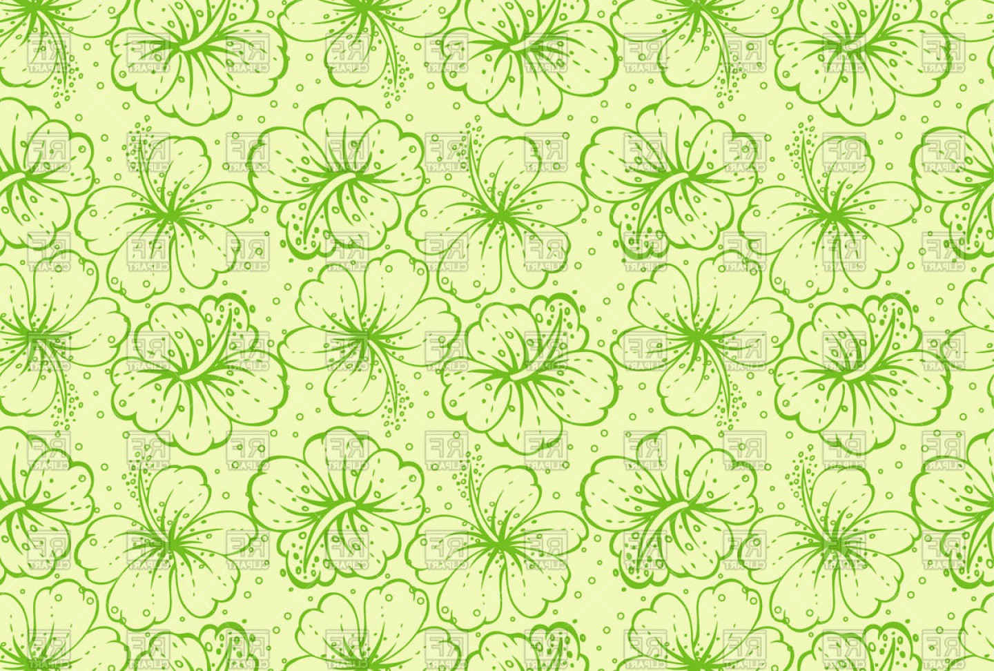 Hawaiian Pattern Vector: Floral Hawaiian Pattern Vector Clipart