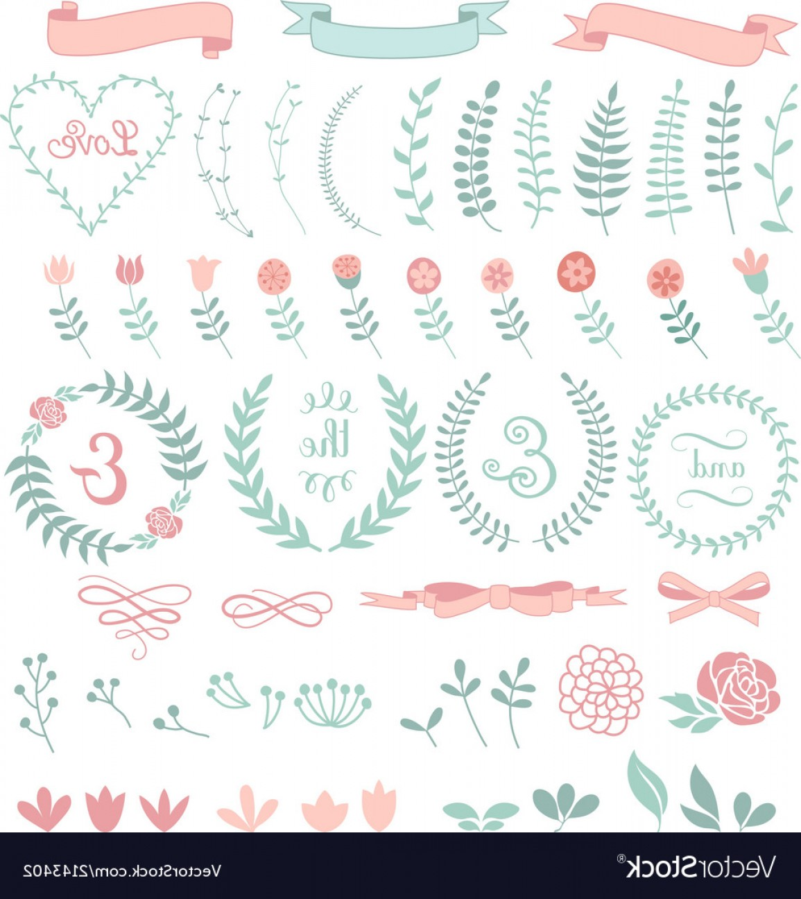 Floral Laurel Wreath Vector: Floral Laurel Wreath Set Vector