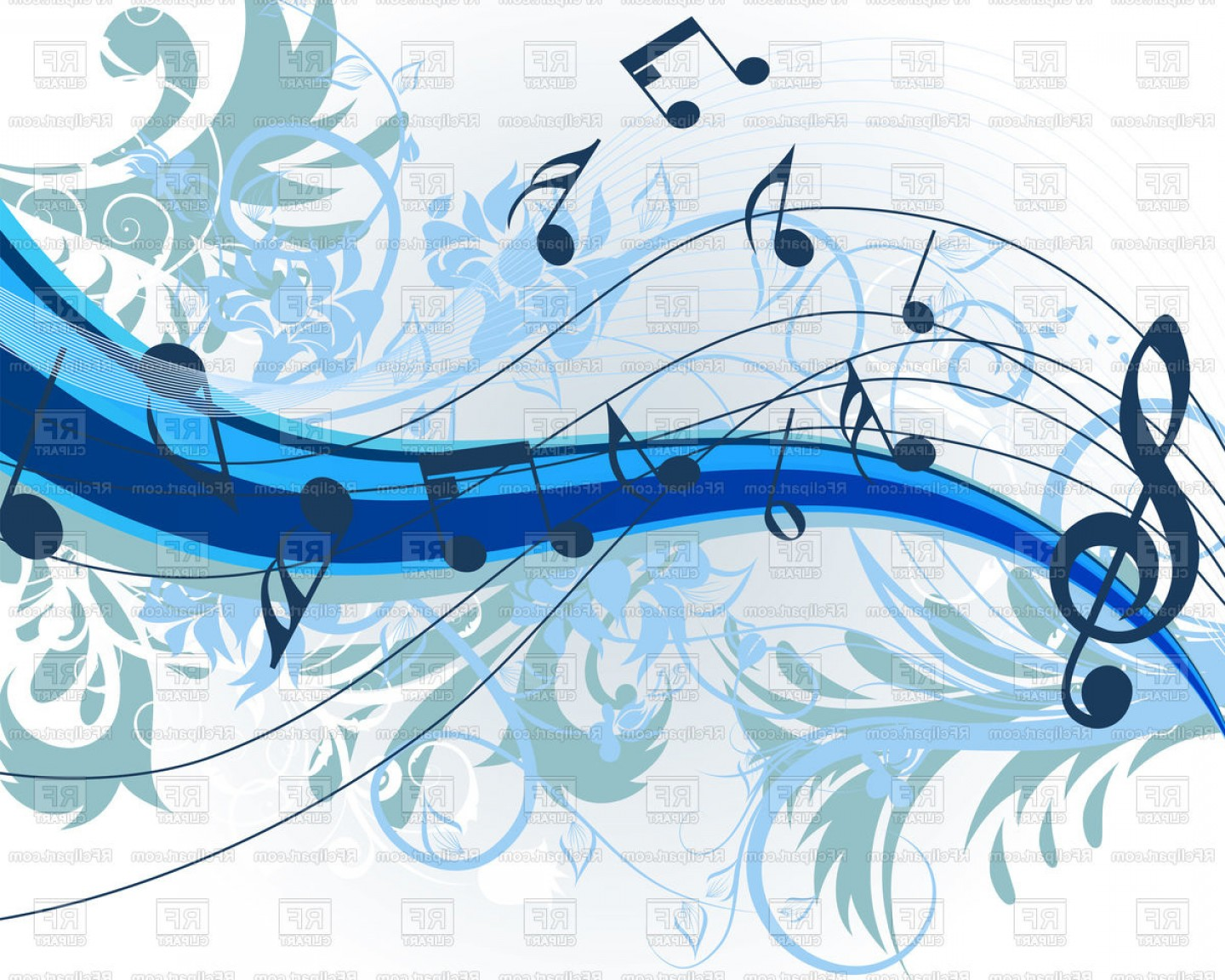 Musical Vector Artwork: Floral Music Theme Background Vector Clipart