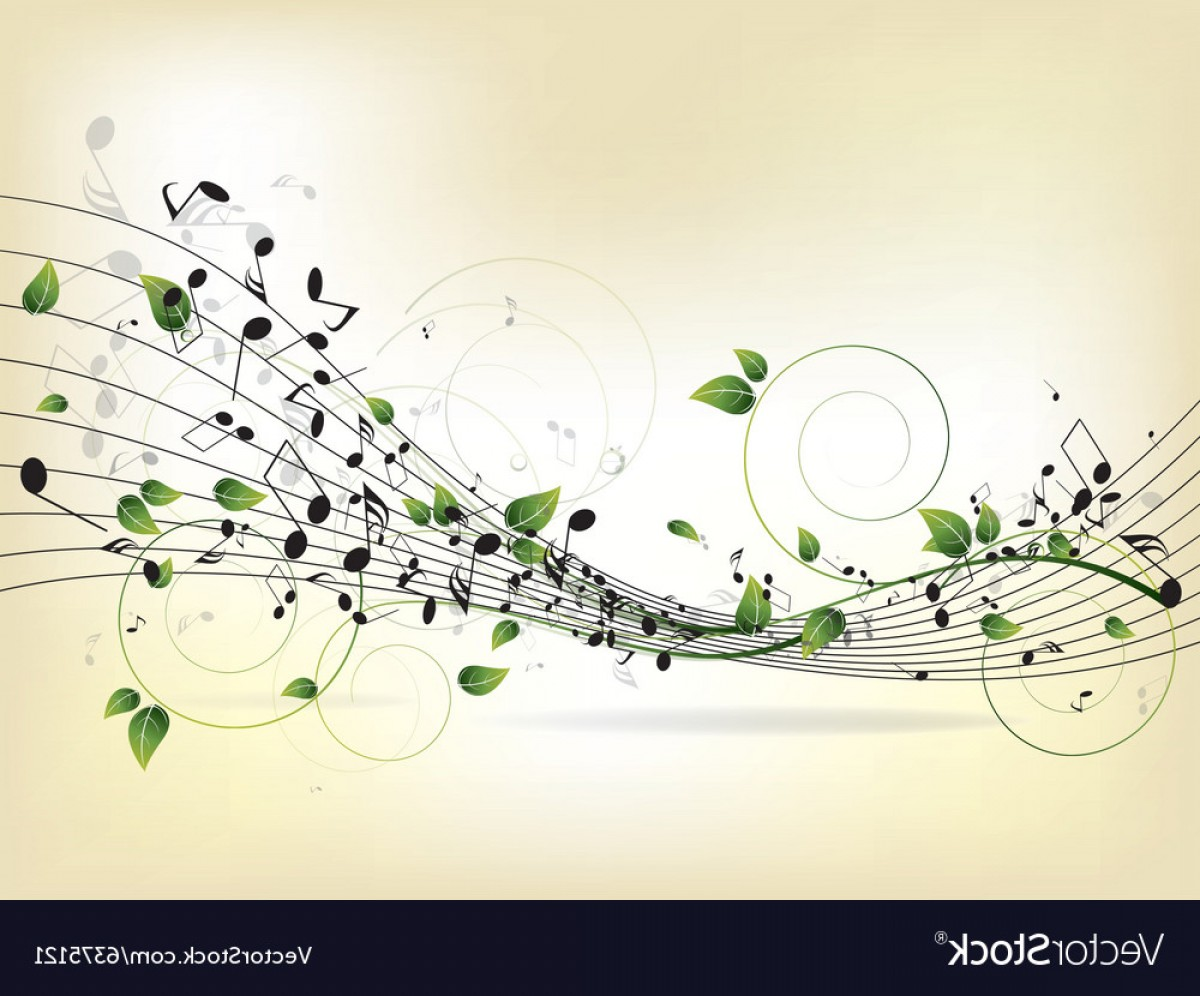 Flourish Music Note Silhouette Vector: Floral Musical Background With Notes Vector