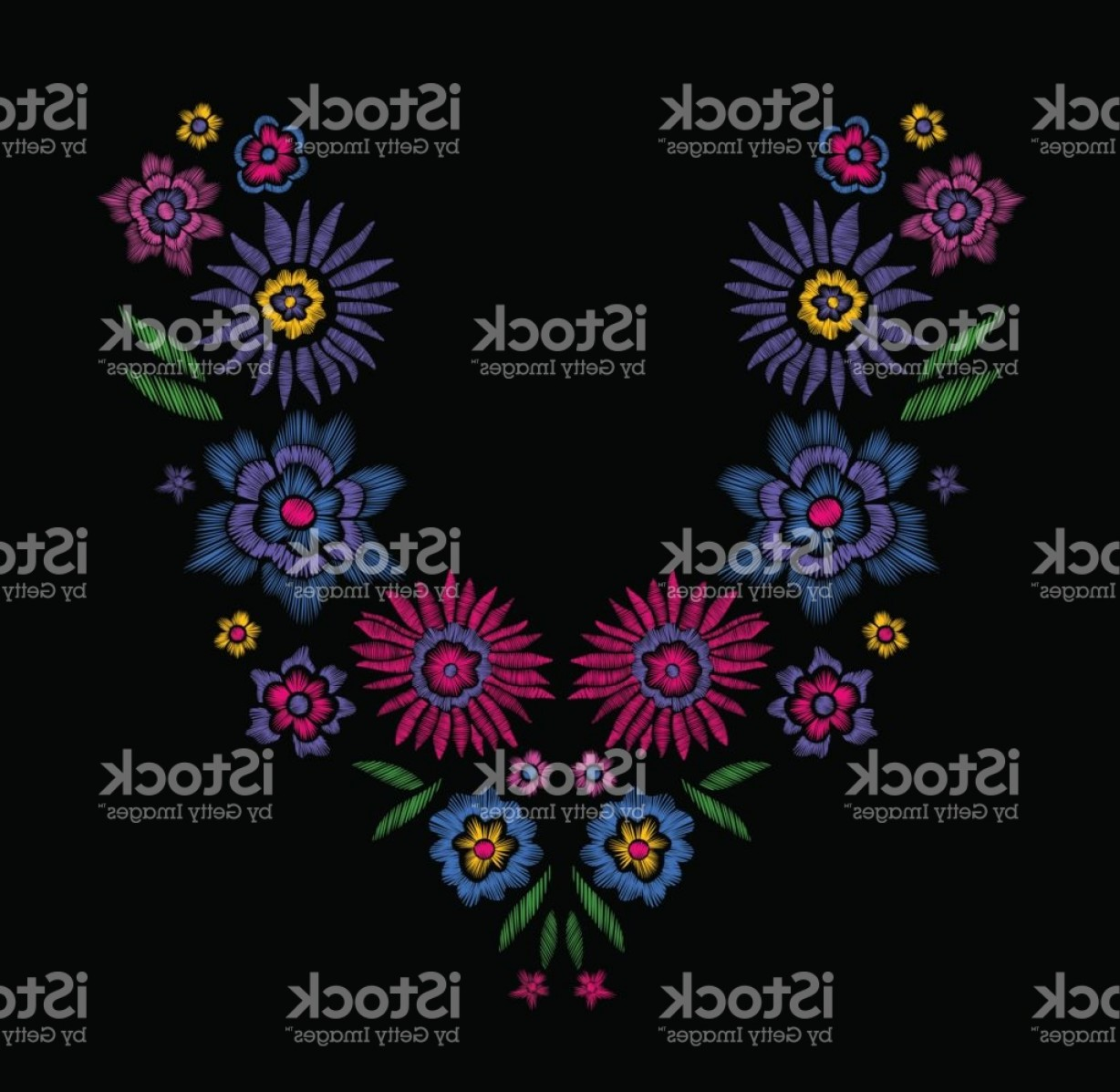 Open Source Vector Graphic Flower: Floral Pattern Neck Line Designs Vector Illustration Hand Drawn Fantasy Flowers Gm