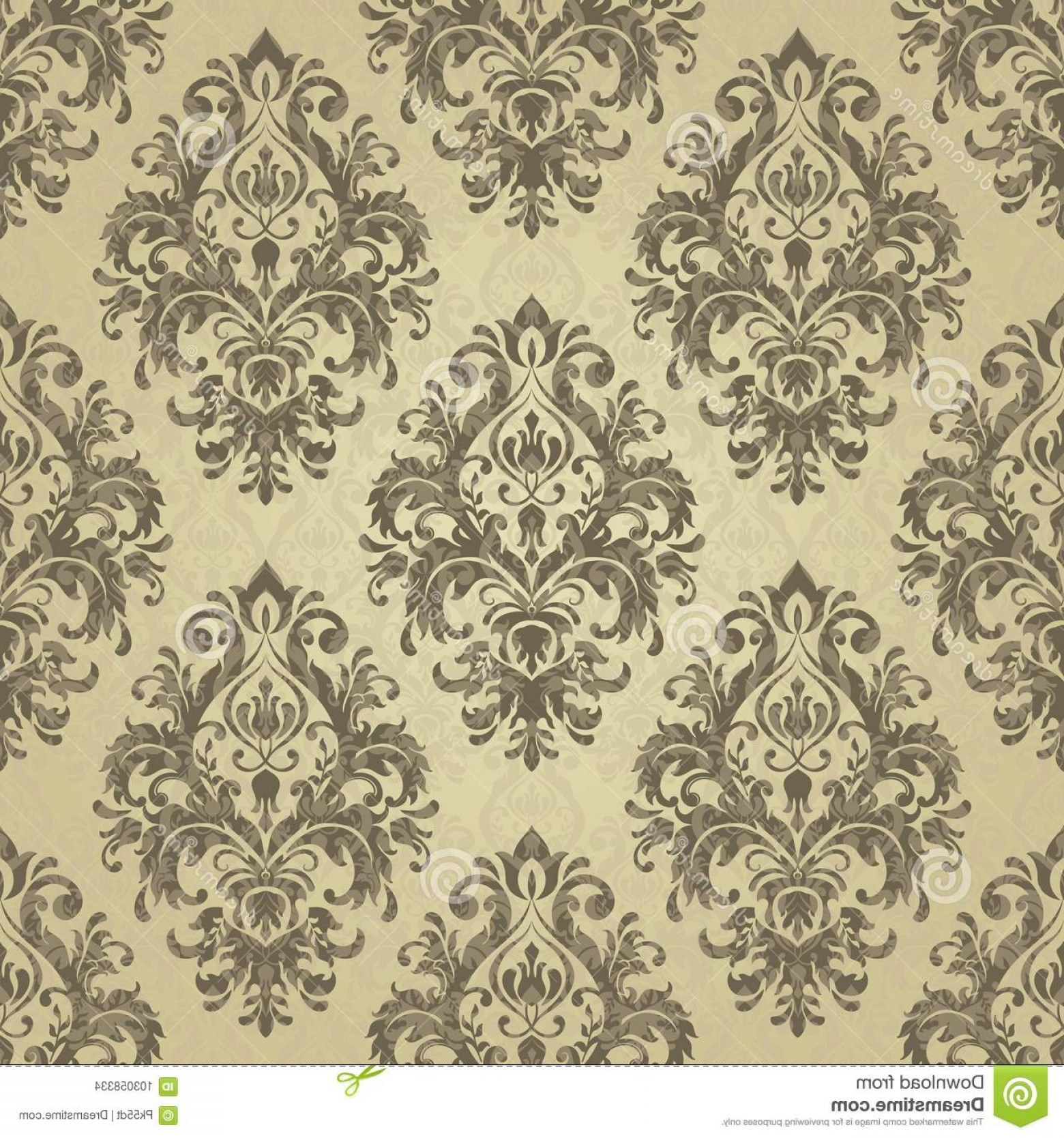 Distressed Damask Vintage Vector Floral Pattern Wallpaper Baroque Gold Color Seamless Background Image