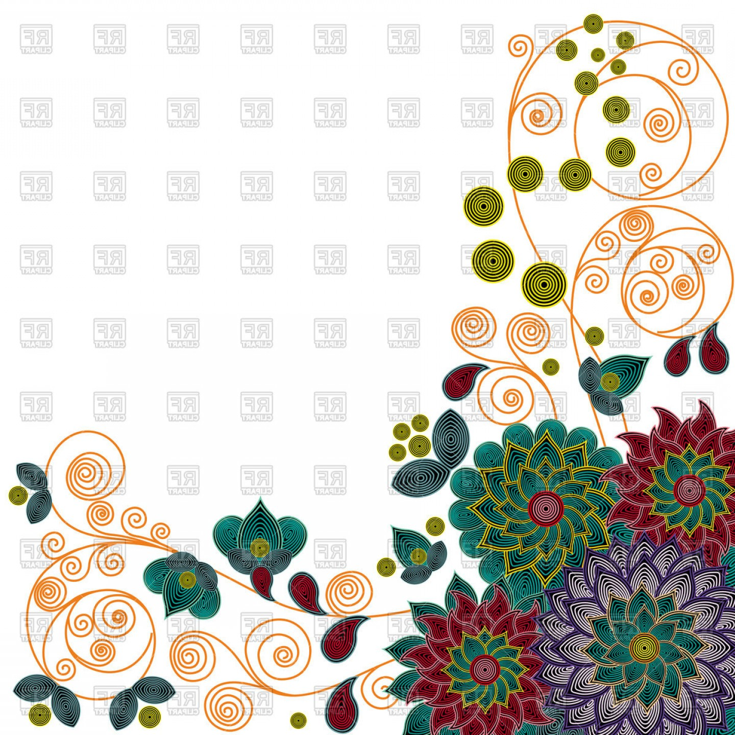 Beautiful Flowers Vector Graphic: Floral Pattern With Beautiful Colorful Stylized Flowers Vector Clipart