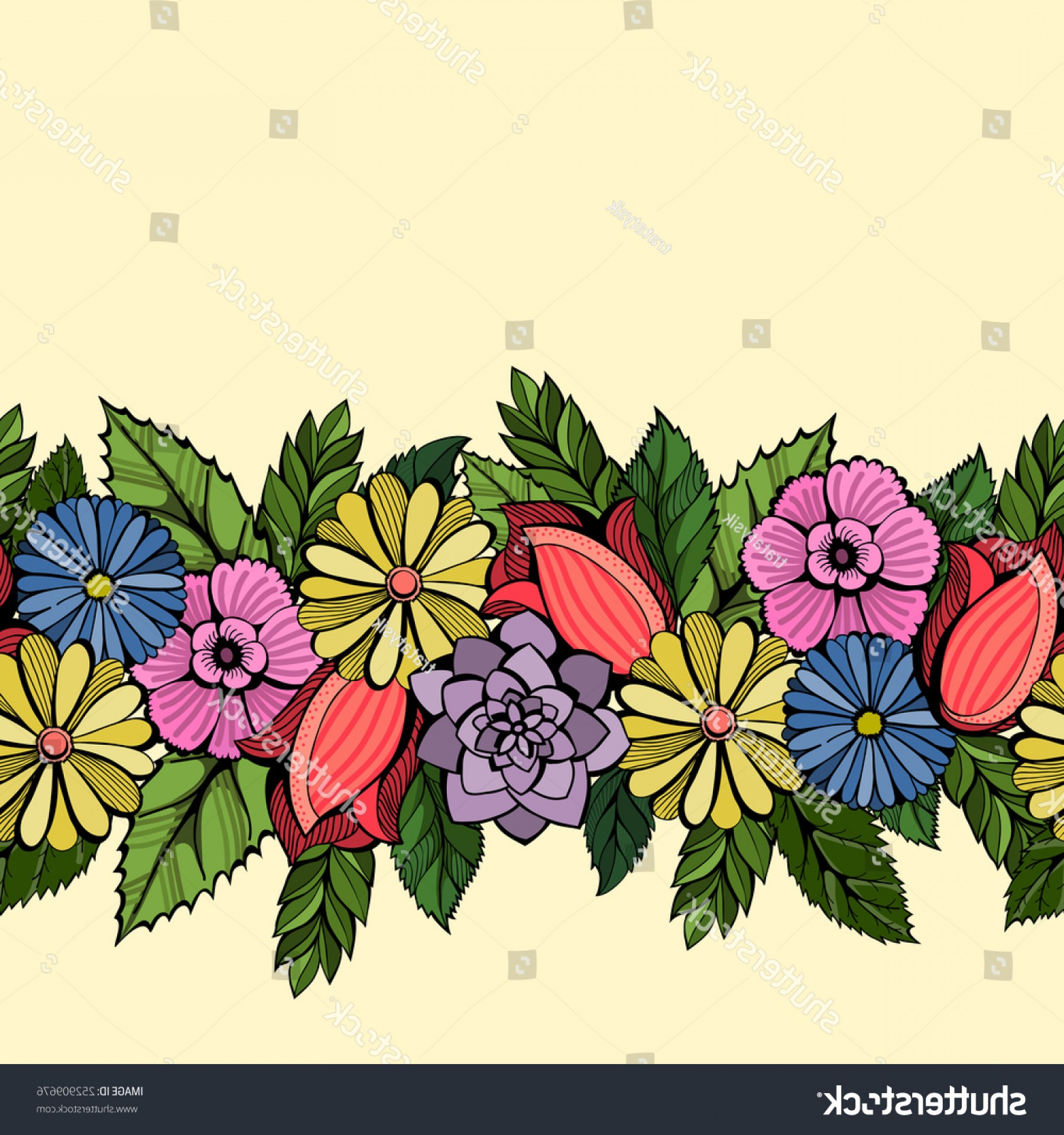 Vector Flower Band: Floral Seamless Band Vector Hand Drawn