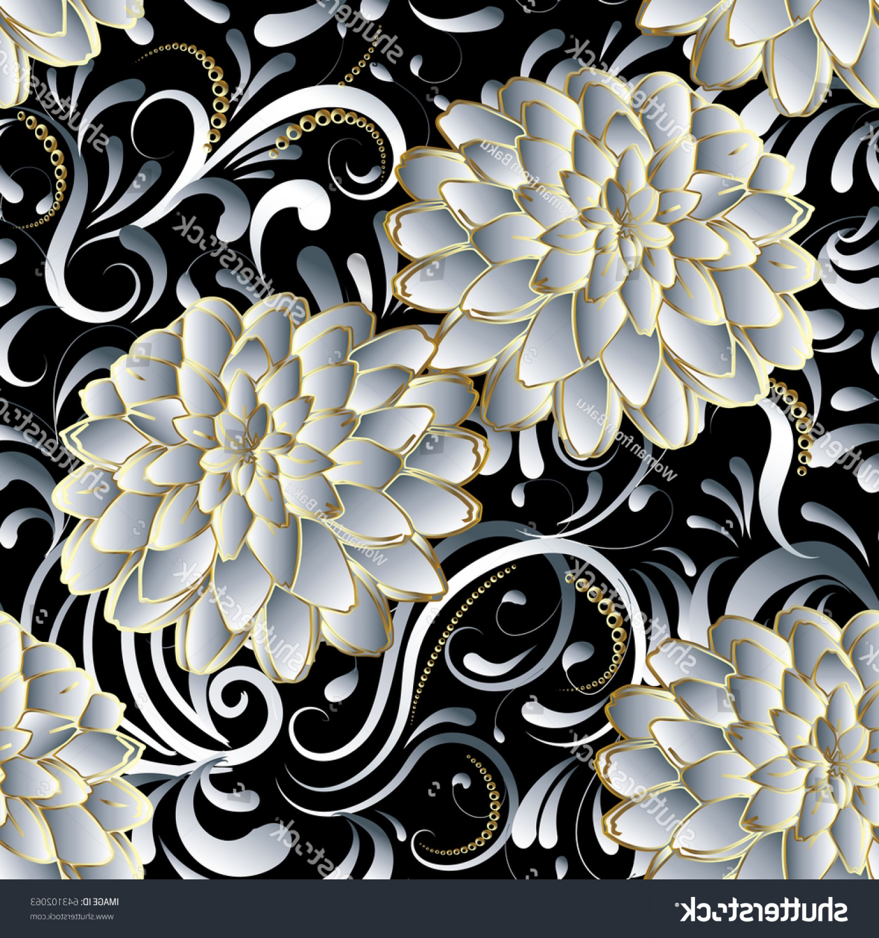 Vector Flourish Backgrounds: Floral Seamless Pattern Flourish D Wallpaper