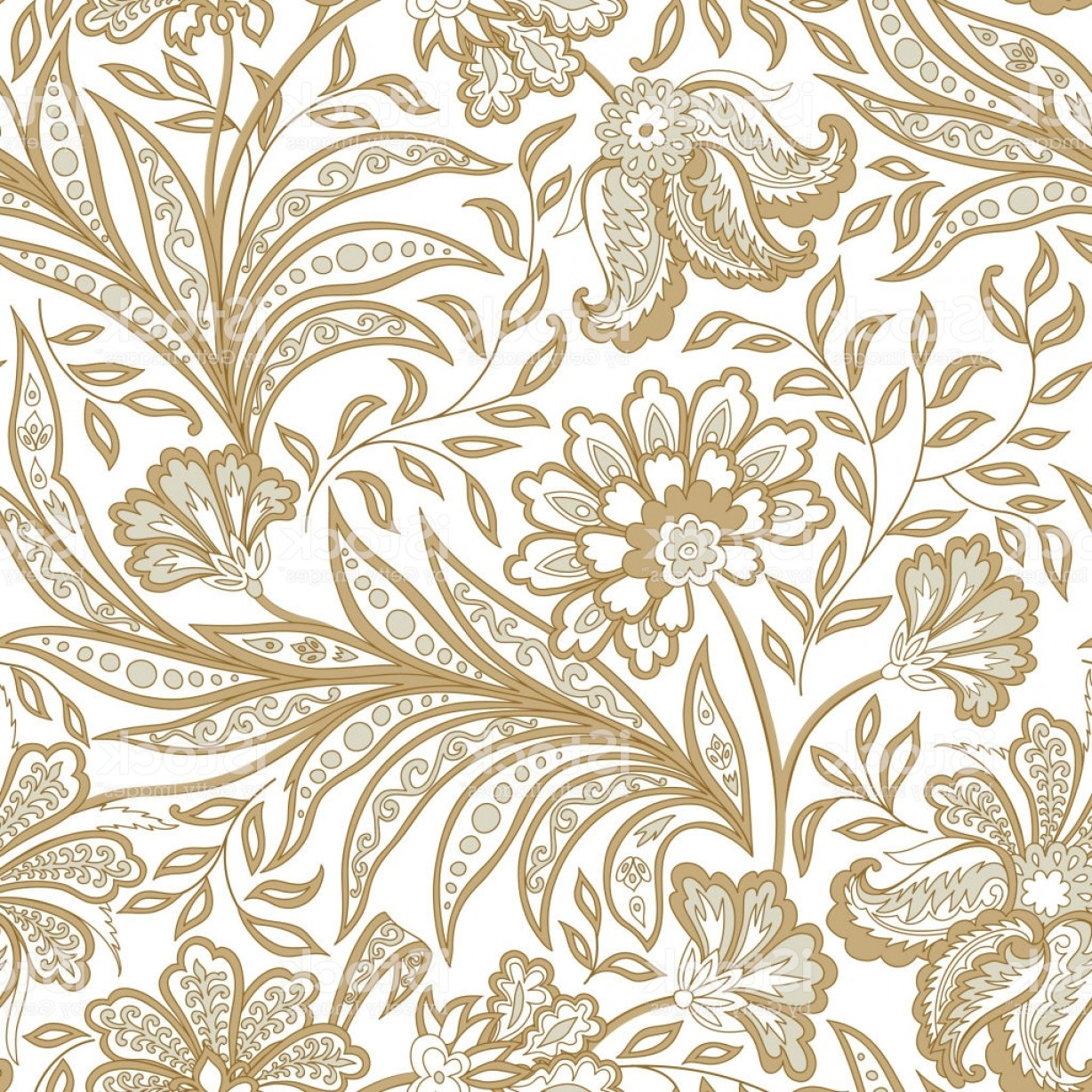 Vector Flourish Backgrounds: Floral Seamless Pattern Flourish Oriental Ethnic Background With Flowers Gm