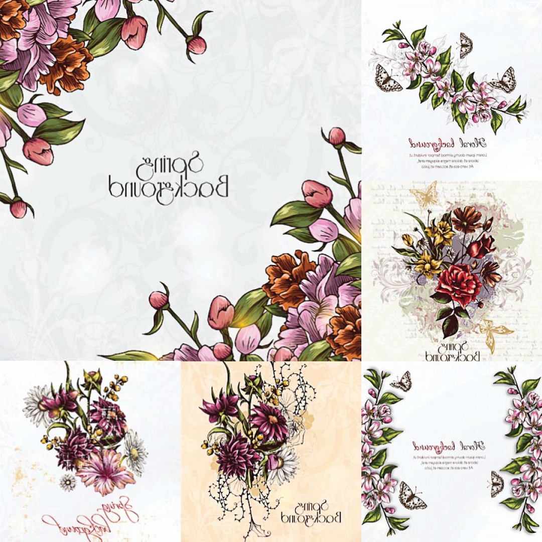 Lilac Wedding Vectors: Floral Spring Background Frame Set Vector