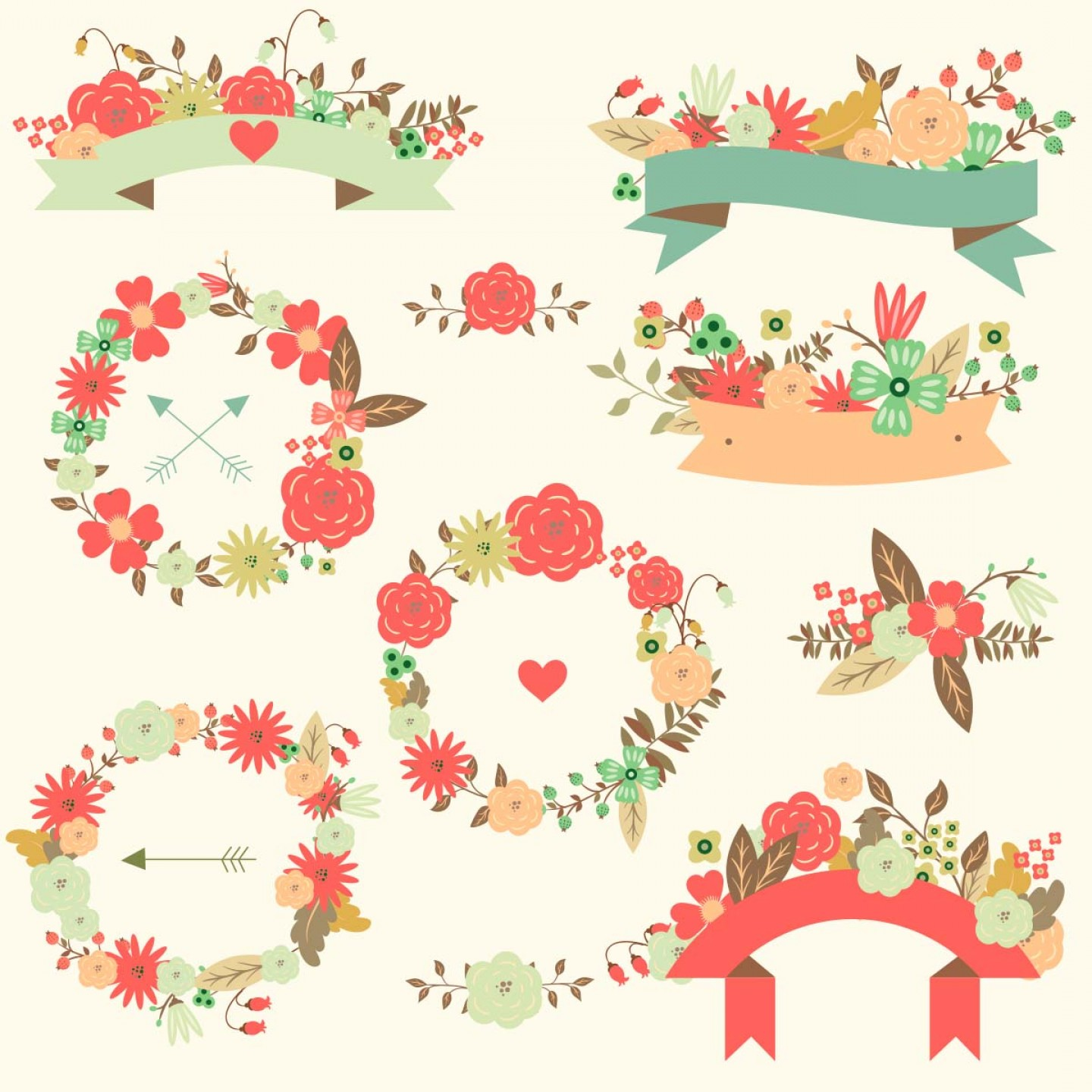 Hipster Vector Ribbon: Floral Vector Wedding Ribbon Pattern Set