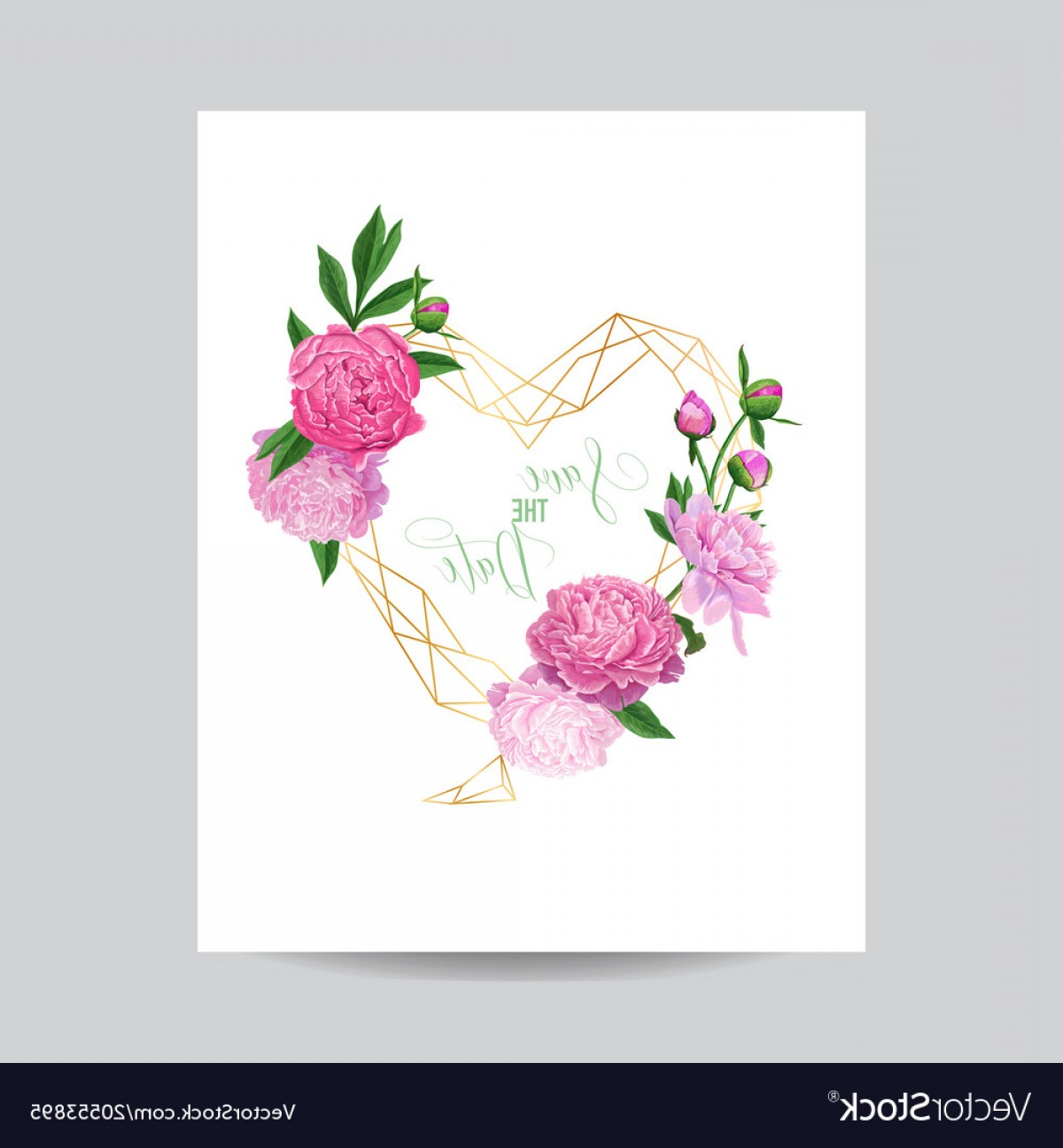 Pink Peony Vector: Floral Wedding Invitation Template Pink Peonies Vector