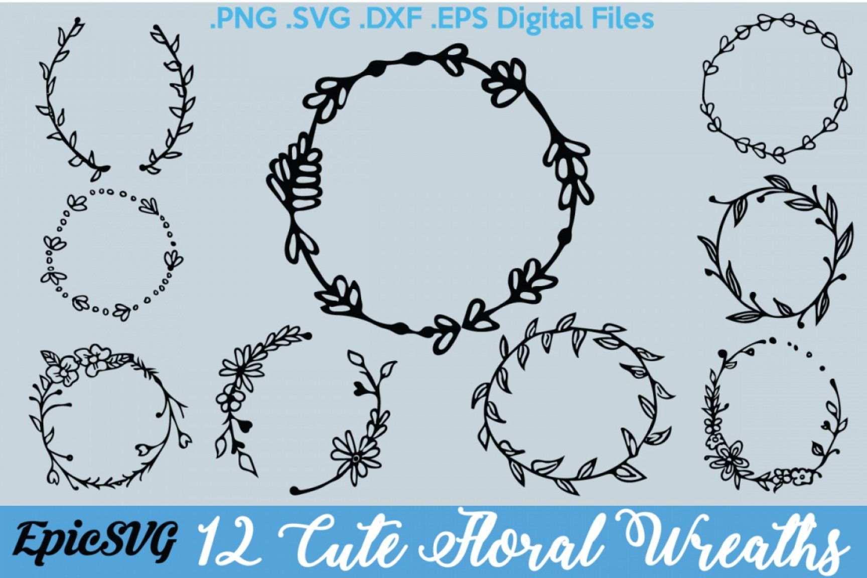 Floral Laurel Wreath Vector: Floral Wreath Designs Svg Dxf Eps Wedding Gift Frame Design Cutting Silhouette Digital Files Floral Laurel Wreath Designs