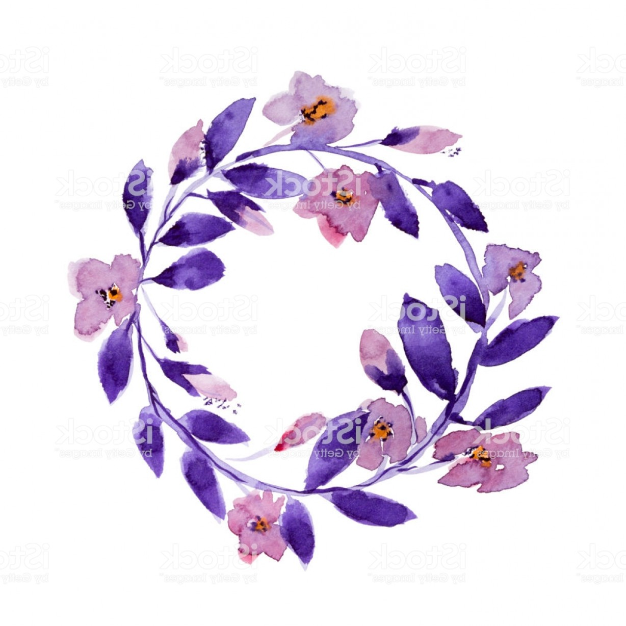 Summer Wreath Free Vector Watercolor: Floral Wreath In Watercolor Gm