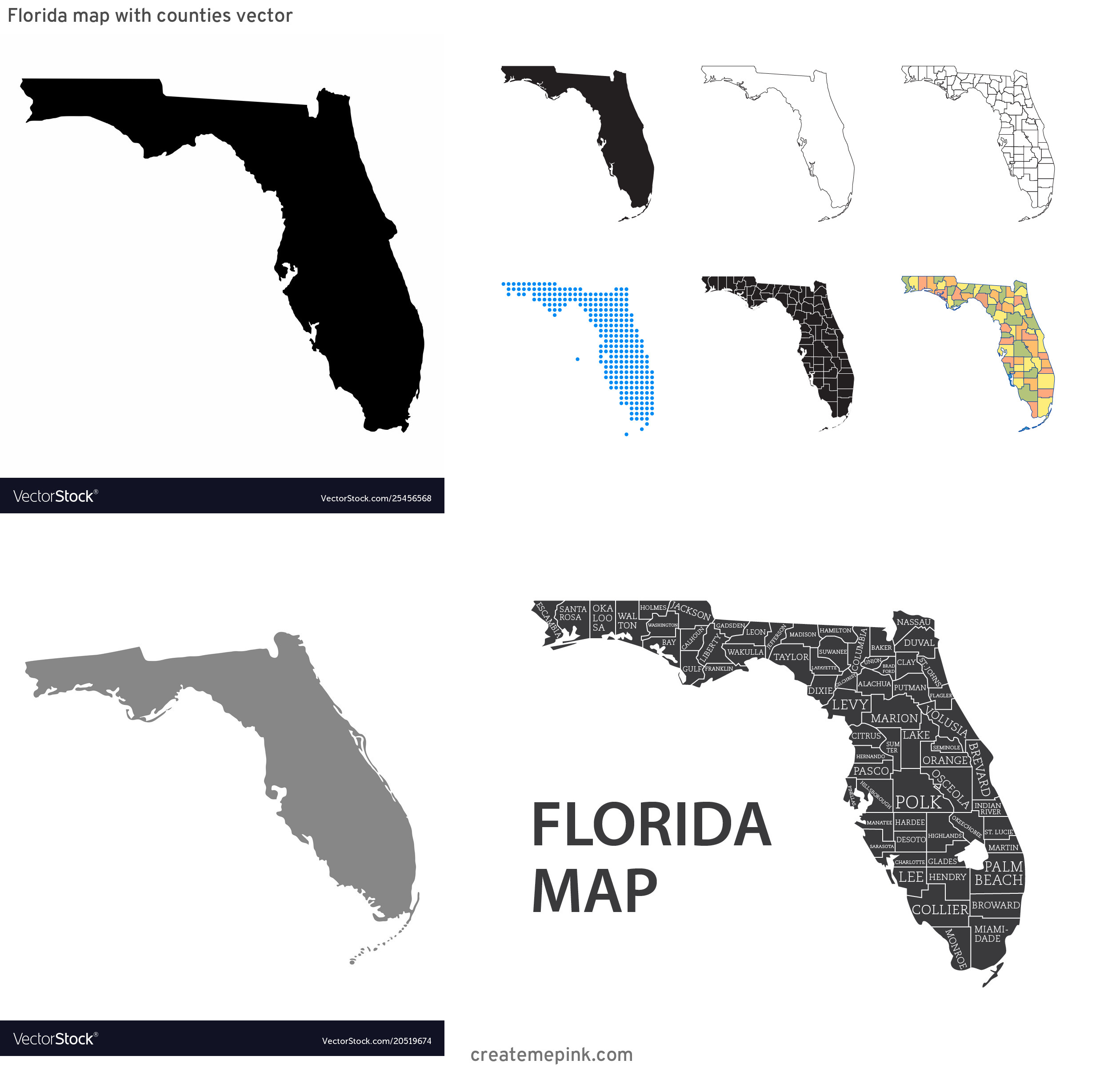 Florida Map Vector: Florida Map With Counties Vector