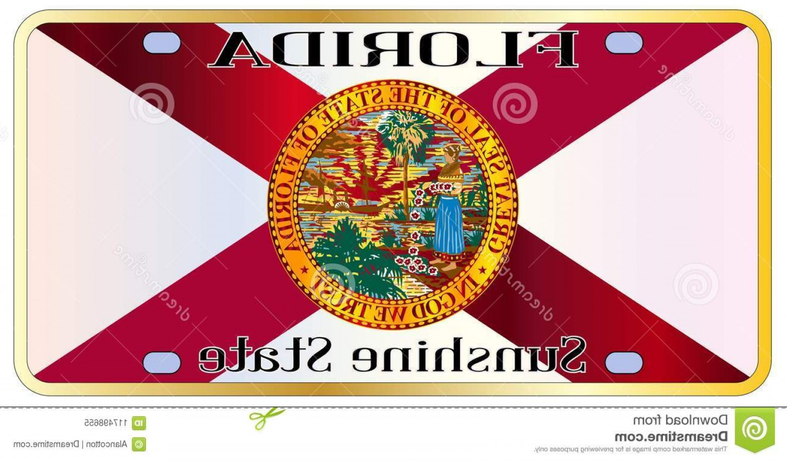 Florida License Plate Vector Art: Florida State Flag License Plate Florida State License Plate State Flag Over White Background Image