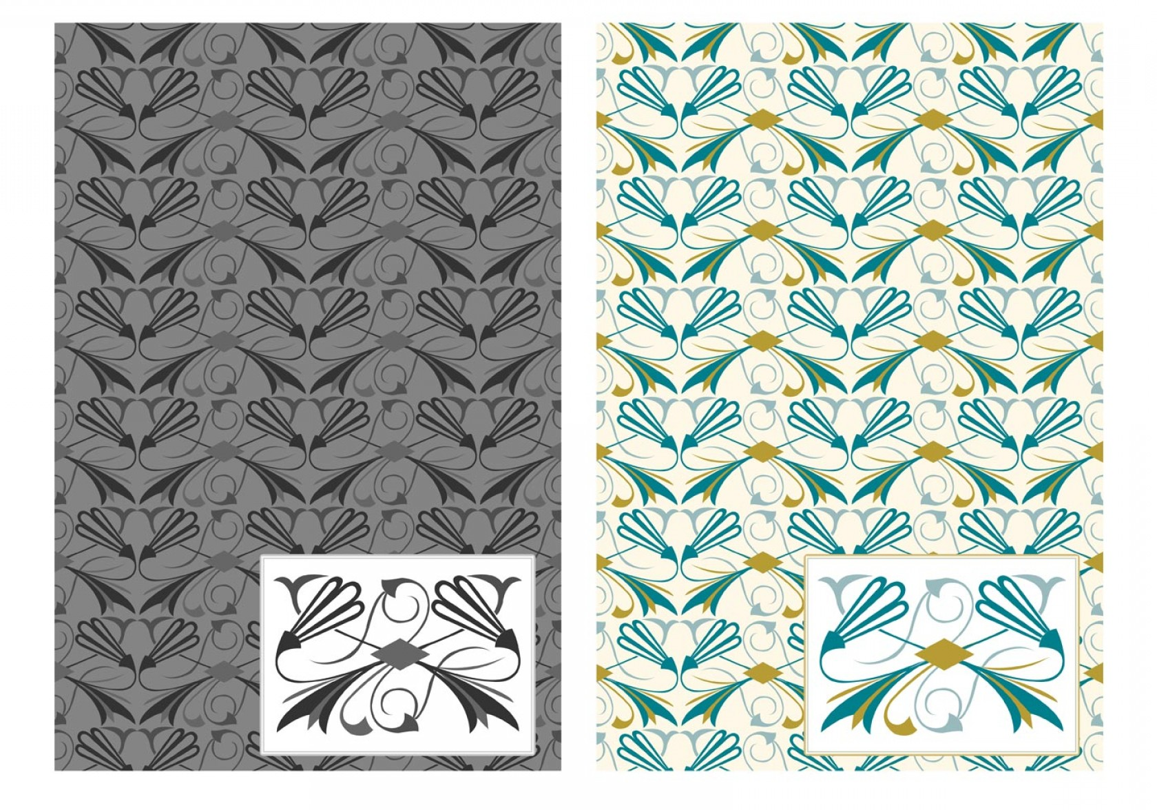 Art Deco Vector Small Posters: Flourish Art Deco Vector Pattern