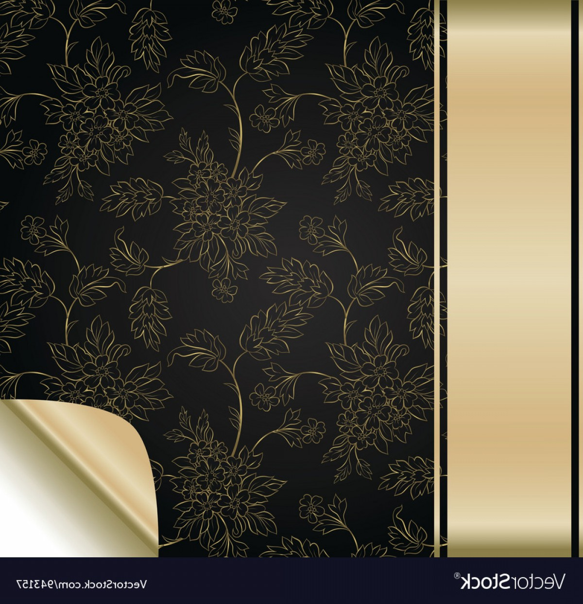 Vector Flower Band: Flower Background With Golden Band Vector