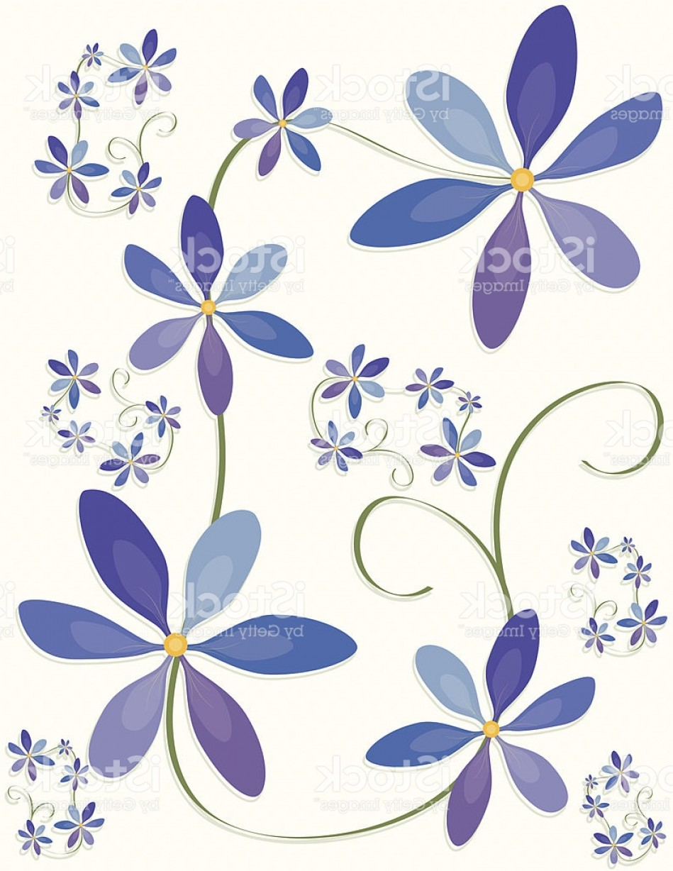 Blue Daisy Flower Vector: Flower Design Pattern Or Background Blue Purple Pastels Gm