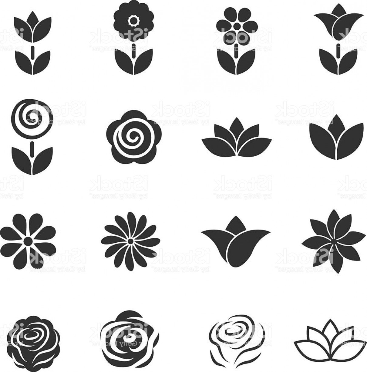 Icon Of Flower Vectors: Flower Icon Flower Beauty Symbol Vector Illustration Gm