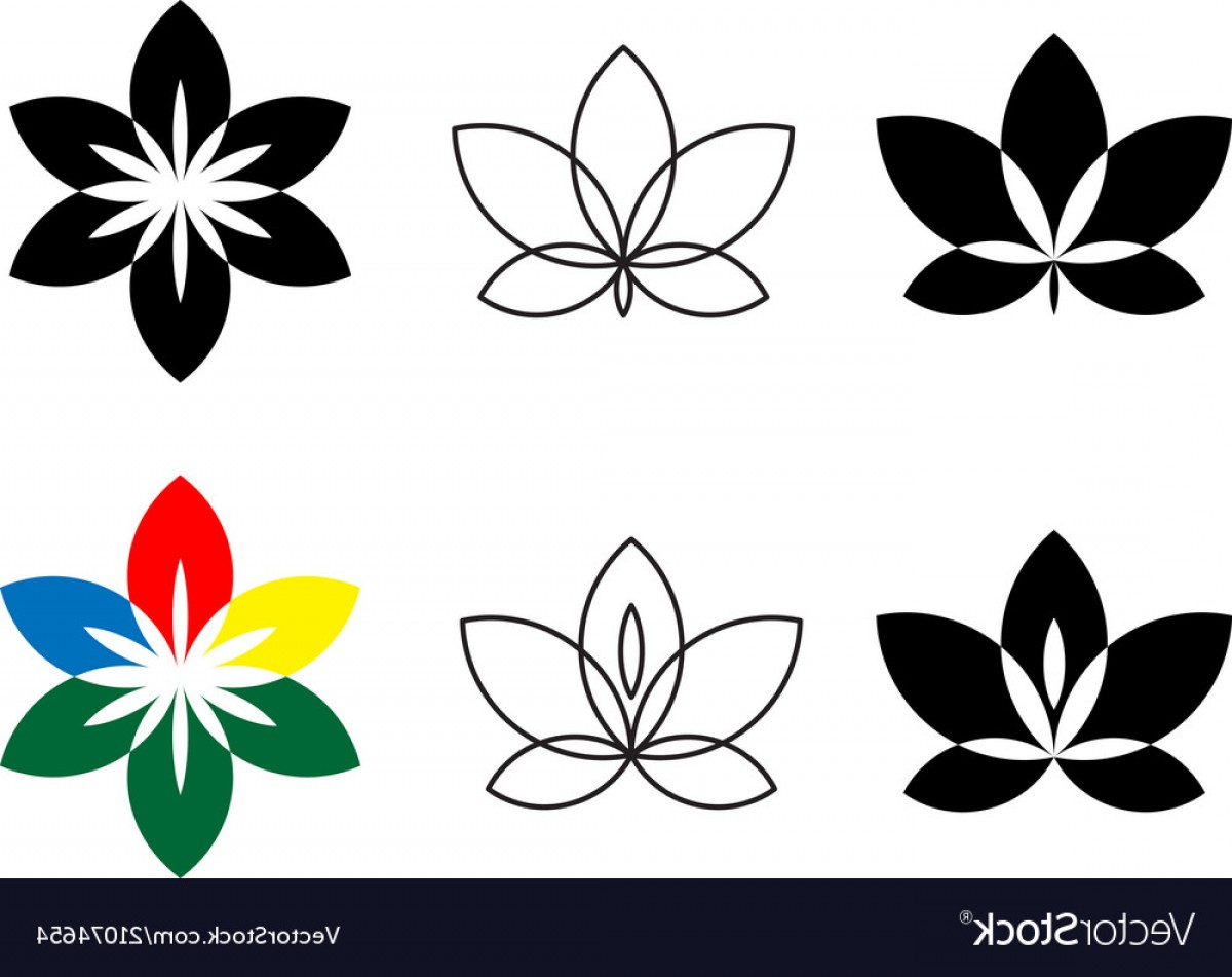 Floral Vector Icon: Flower Icon Set Flat Logo With Floral Elements Vector