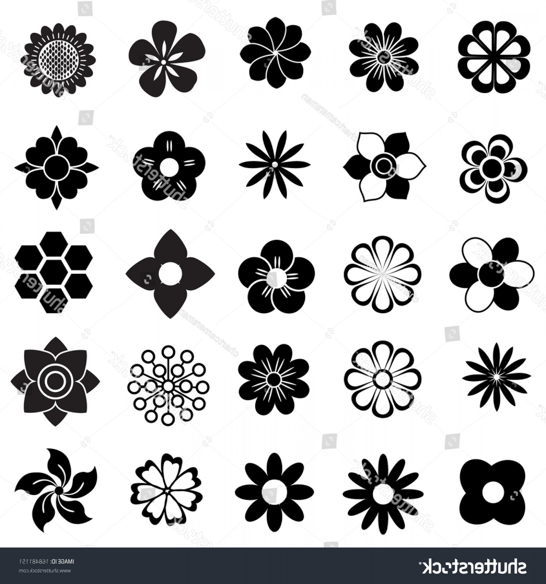 Icon Of Flower Vectors: Flower Vector Set Flowers Icon Decorative
