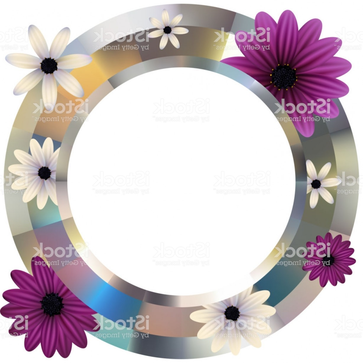 Purple Gerber Daisy Vector Framw: Flowers Gerbera Daisy Purple White Floral Background Round Frame Metal Gm
