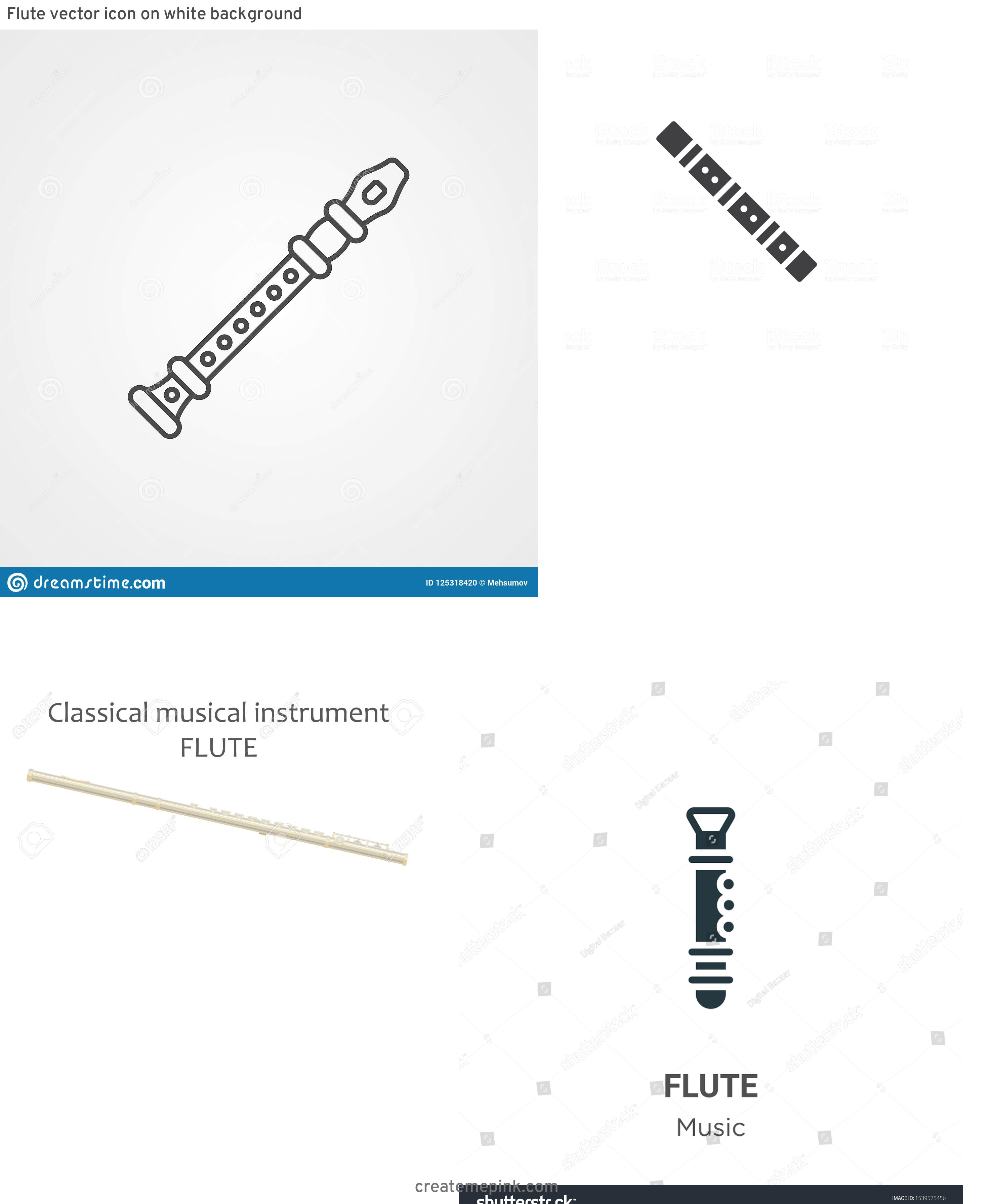 Flute Vector: Flute Vector Icon On White Background