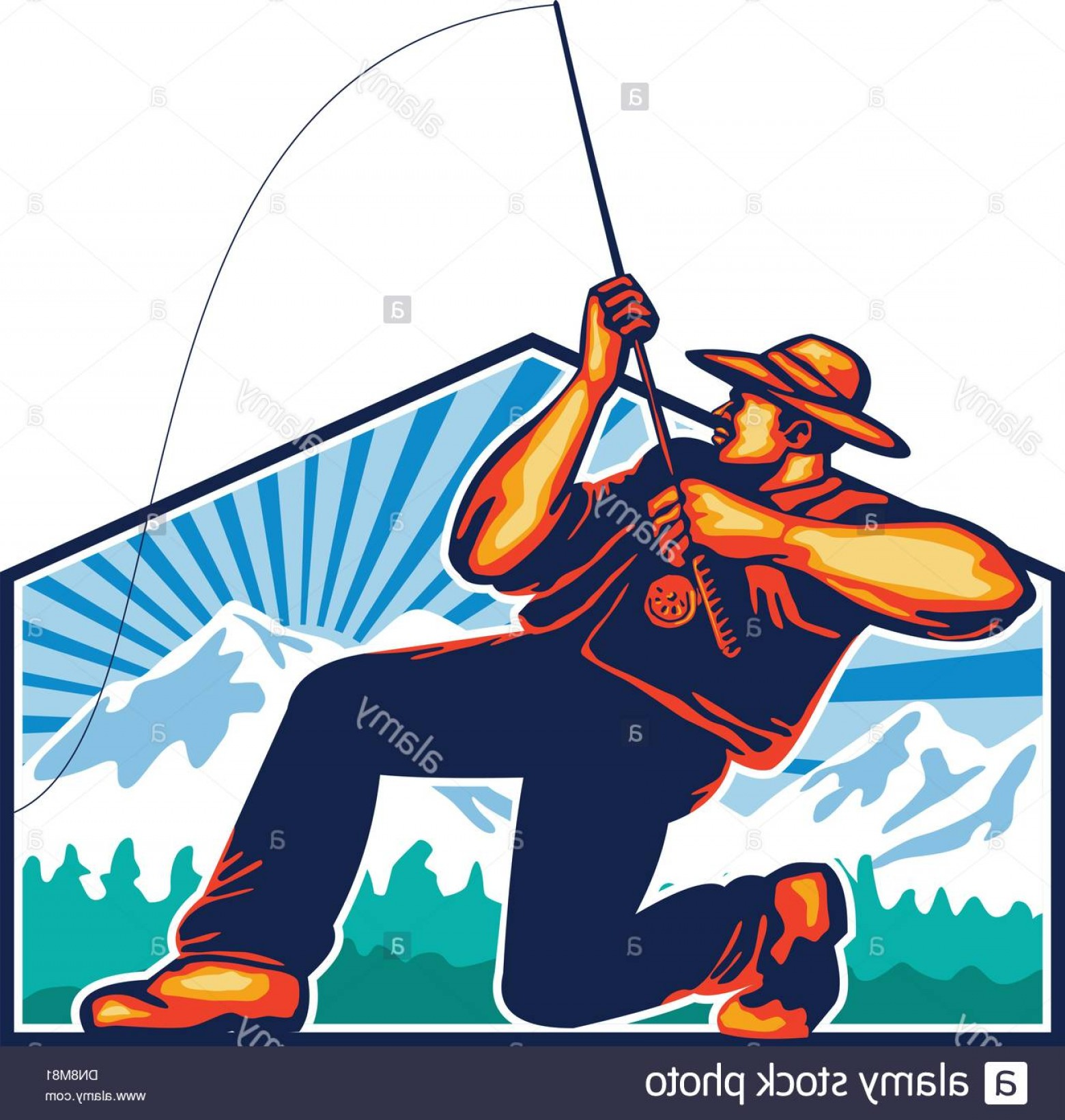 Detailed Vector Art Fly Fisherman: Fly Fisherman Reeling Fishing Rod Retro Image