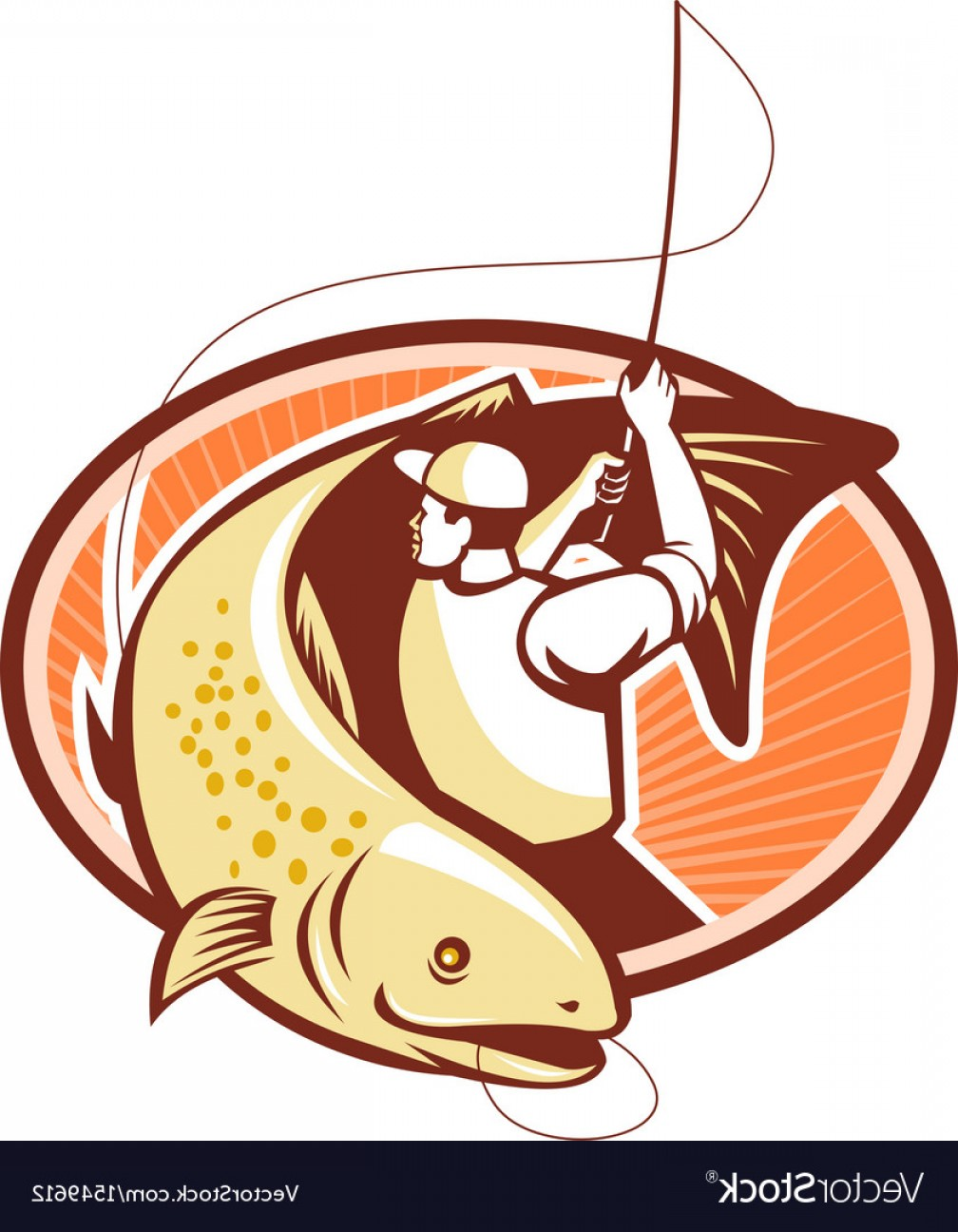 Detailed Vector Art Fly Fisherman: Fly Fisherman Reeling Trout Fish Retro Vector