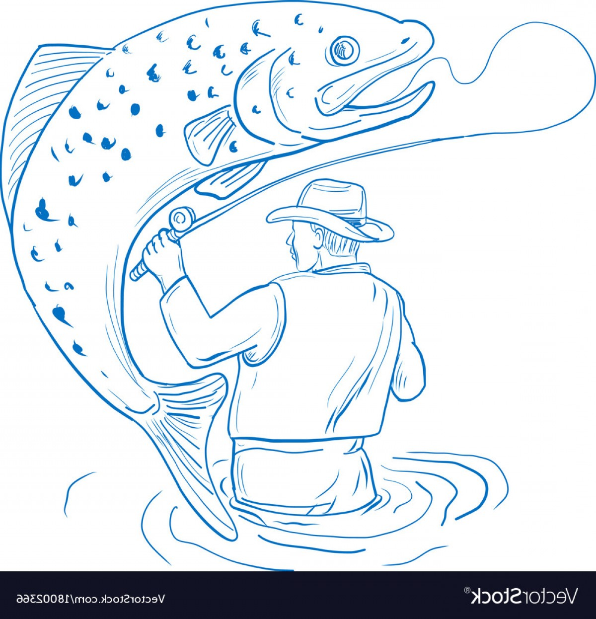 Detailed Vector Art Fly Fisherman: Fly Fisherman Trout Fishing Drawing Vector