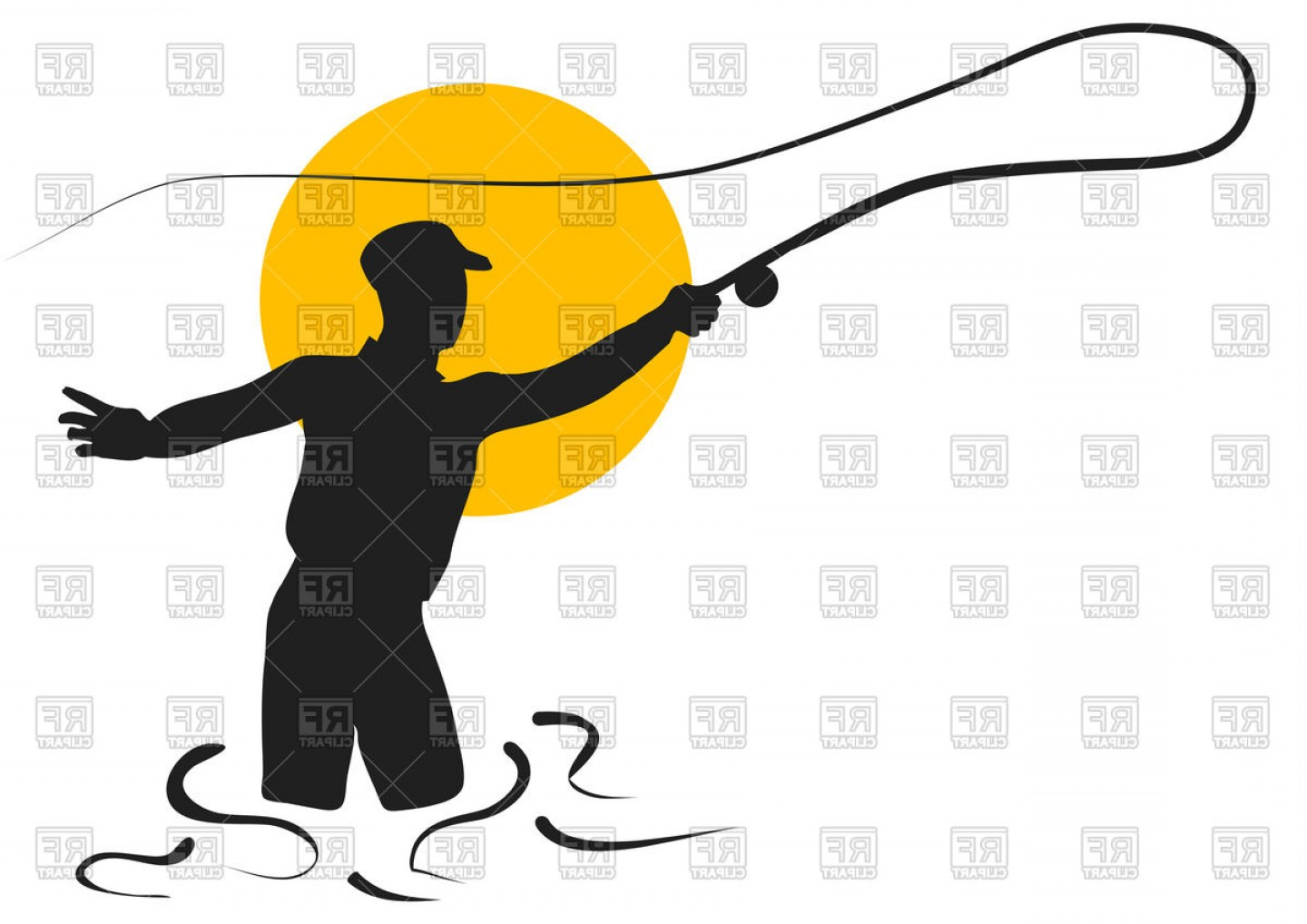 Detailed Vector Art Fly Fisherman: Fly Fishing Silhouette Of Fisherman Vector Clipart