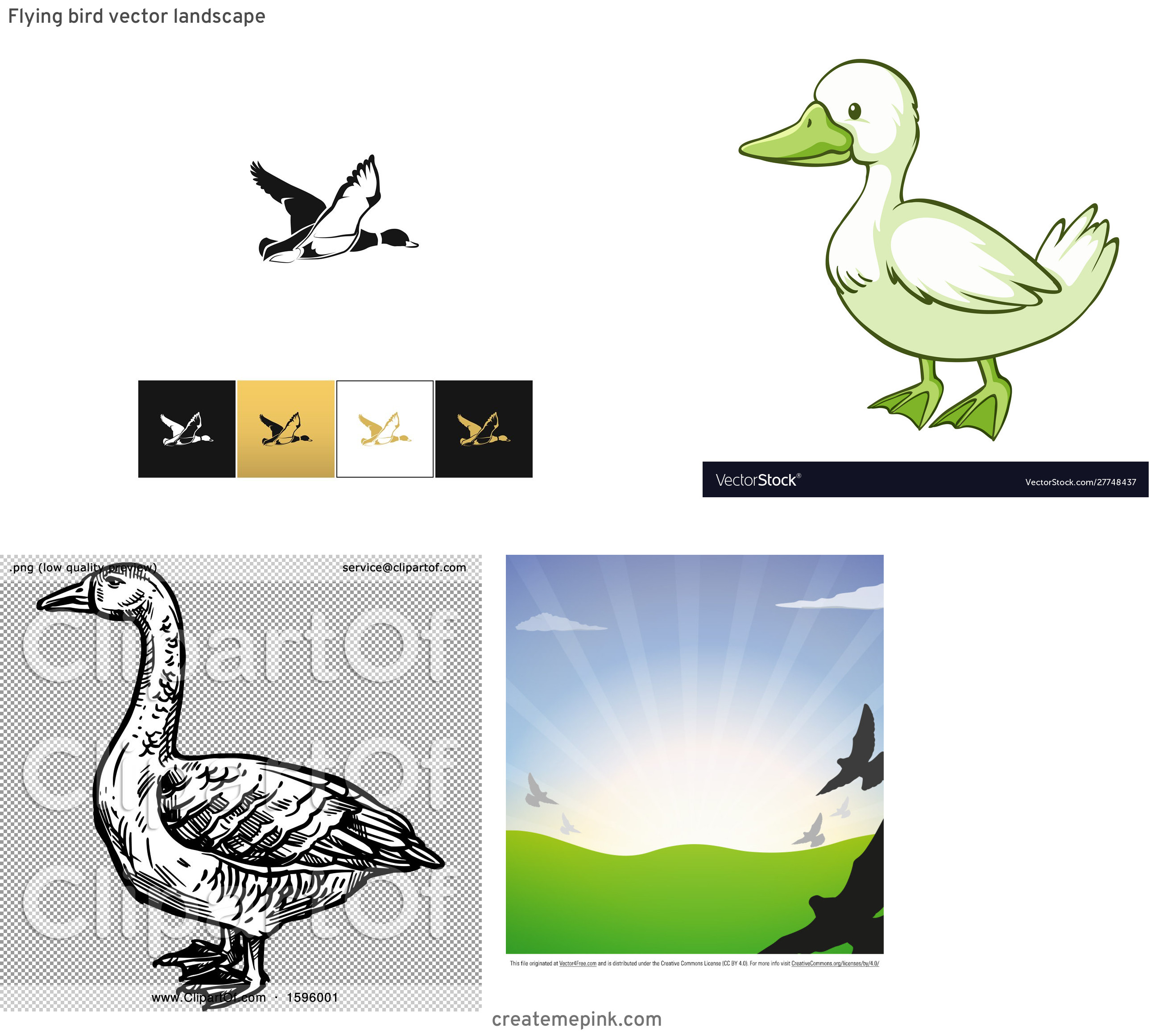 Flying Ducks Scene Vector: Flying Bird Vector Landscape