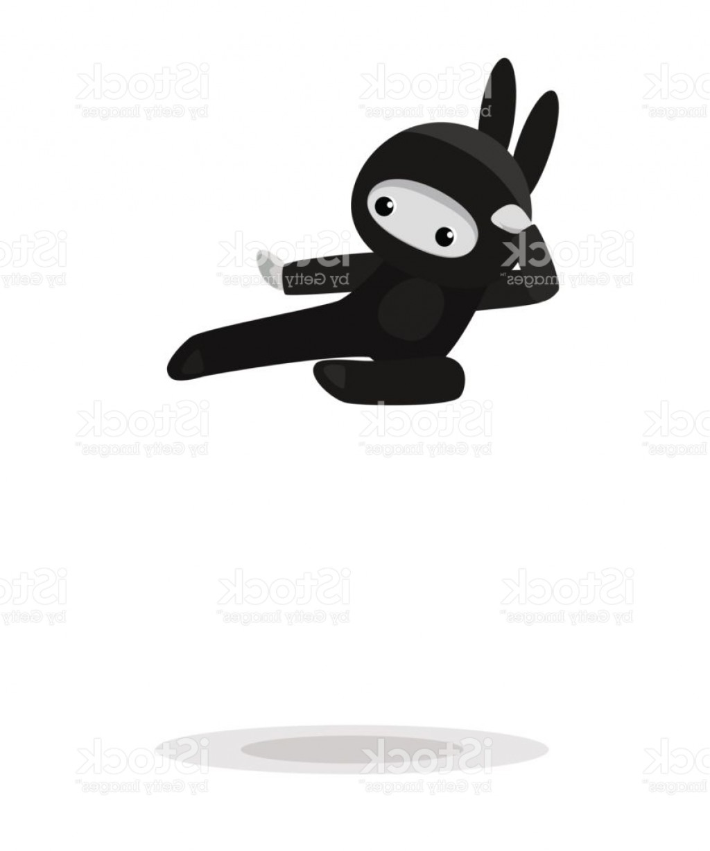 Animated Bunny Face Vector: Flying Cute Bunny Ninja Isolated On White Background Gm
