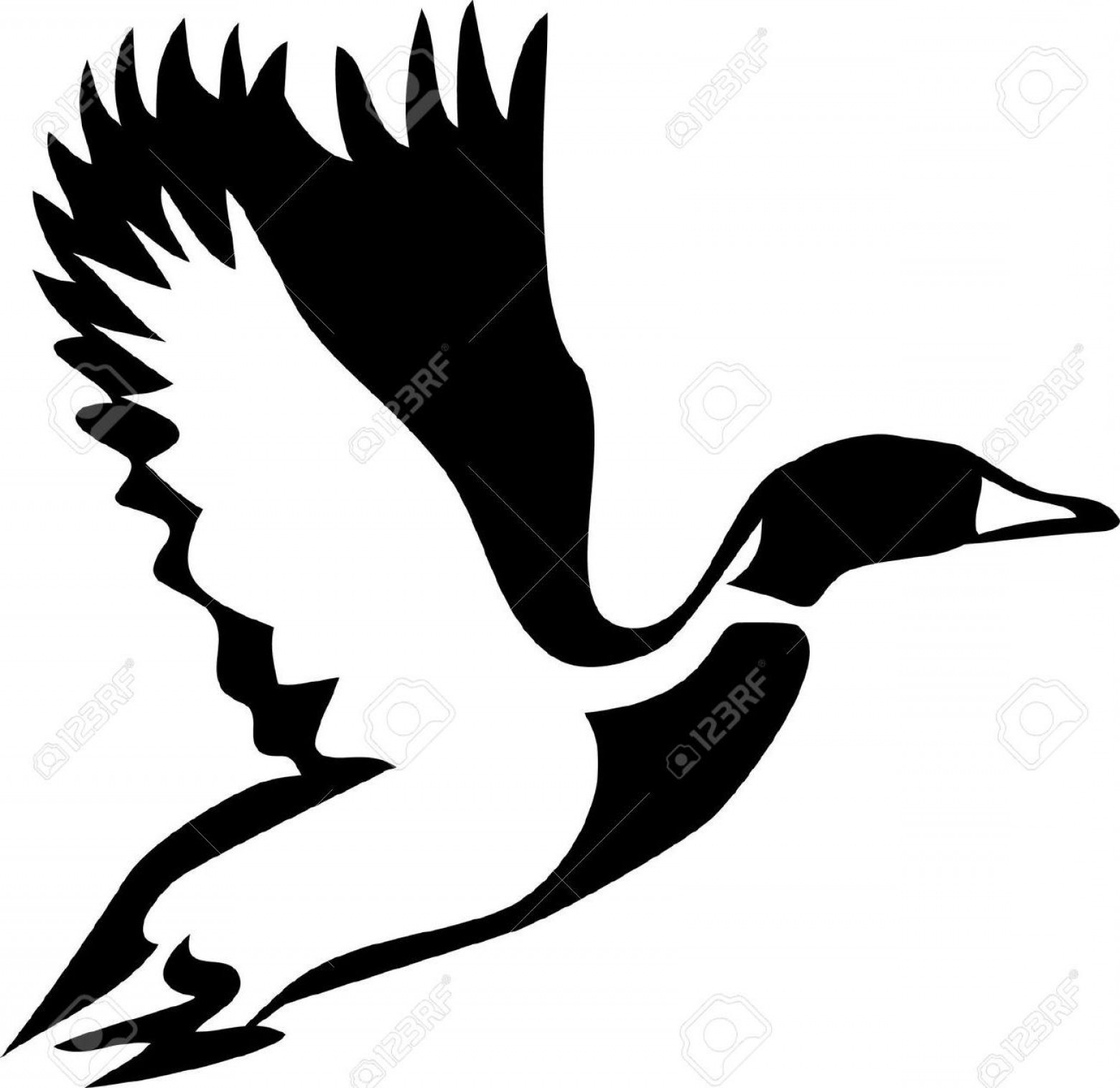 Geese Vector: Flying Duck Clipart Black And White