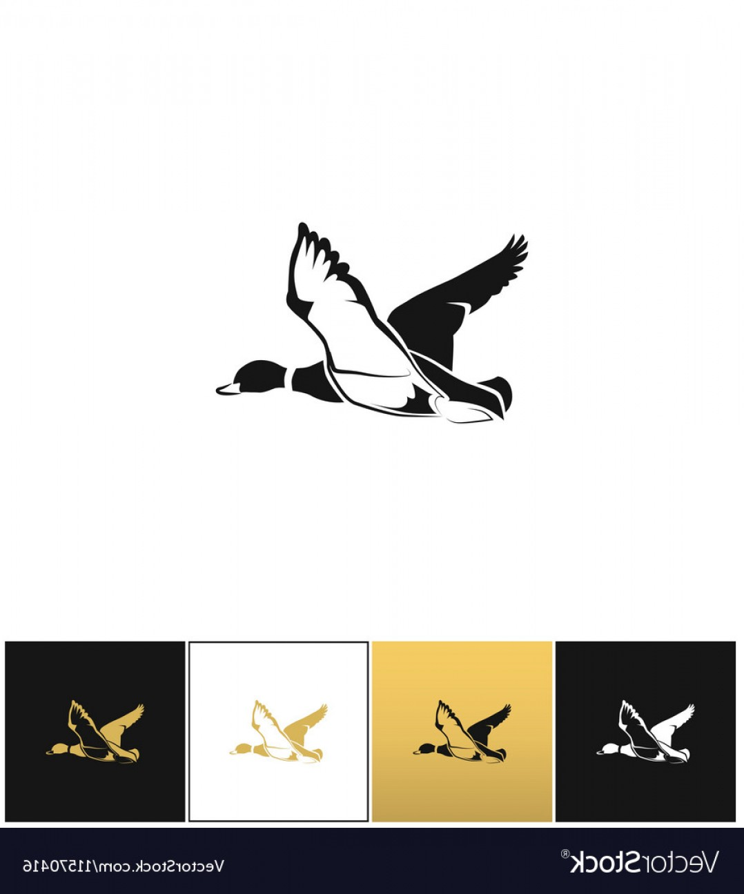 Flying Duck Outline Vector: Flying Duck Silhouette Or Hunting Target Vector
