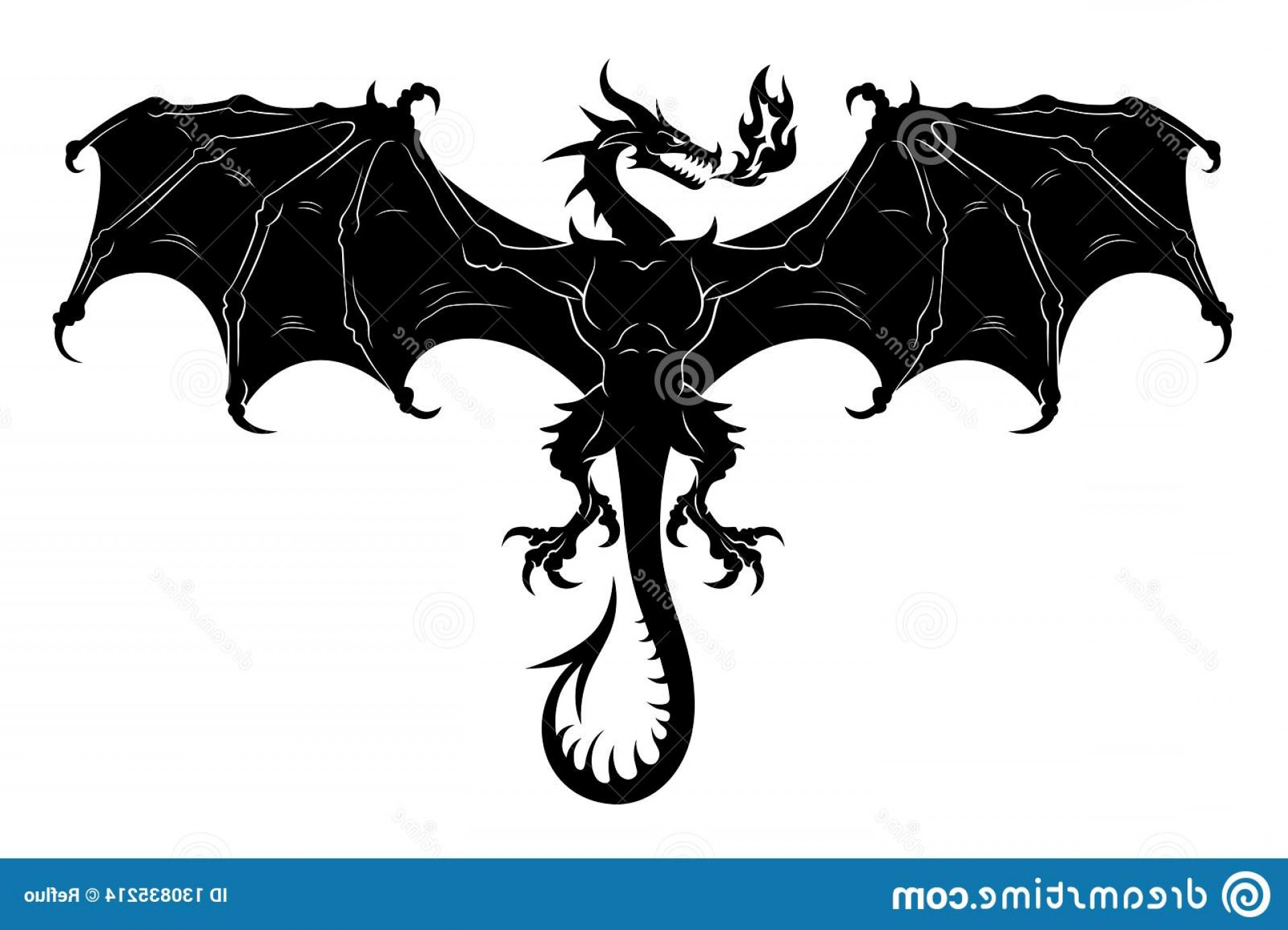 Baby Dragon Silhouette Vector: Flying European Dragon Fire Monochrome Vector Illustration Flying Dragon Silhouette Image