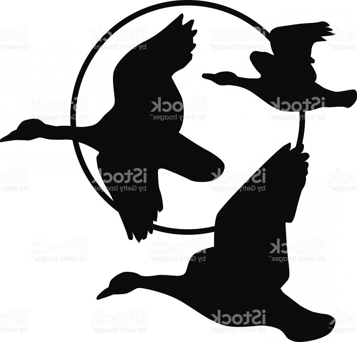 Geese Vector: Flying Geese Silhouette And Harvest Moon Gm