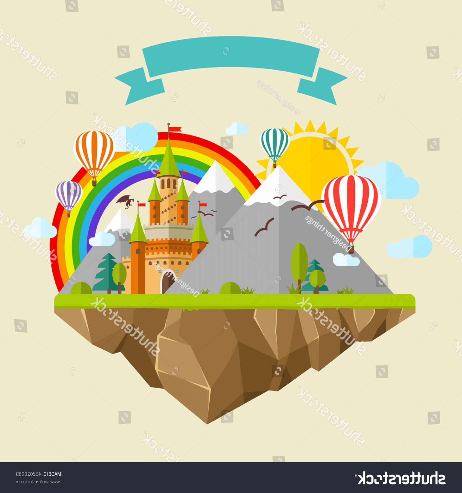 Vectors Fortress Flying: Flying Island Fairy Tale Castle Balloons