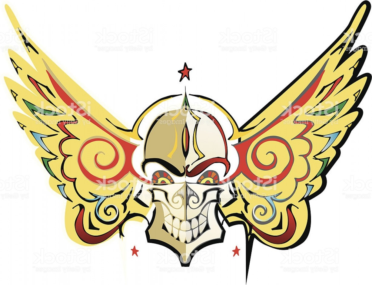 Flying Skull Vector: Flying Skull Biker Tattoo Style Gm