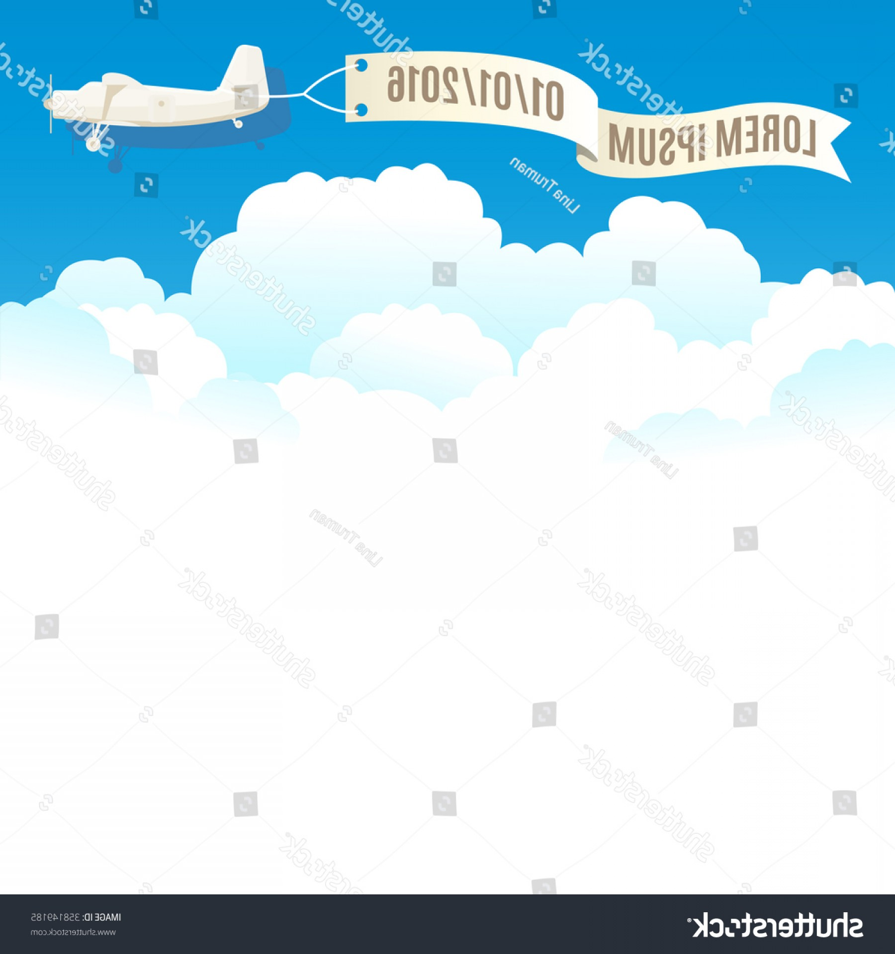 Vector Airplane Clouds Flying Vintage Plane Banner White
