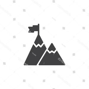 Mountian Peak Vector: Flag On Mountain Peak Vector Icon
