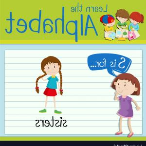 Sisters Lettering Vector: Flashcard Letter S Is For Sisters Vector