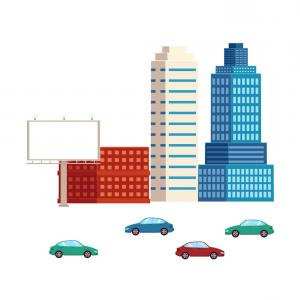 Cars Skyline Vector: Flat City Urban Elements Buildings And Cars Vector