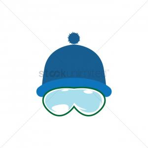 Vector Ski Mask Clothing: Flat Design Vector Illustration Snowboard Mask Icon Winter Sports Outfit Clothing Accessories Skiing Snowboarding Holidays Image