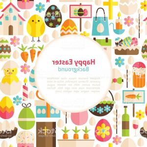 Easter Vector No Background: Flat Happy Easter Vector Background Gm